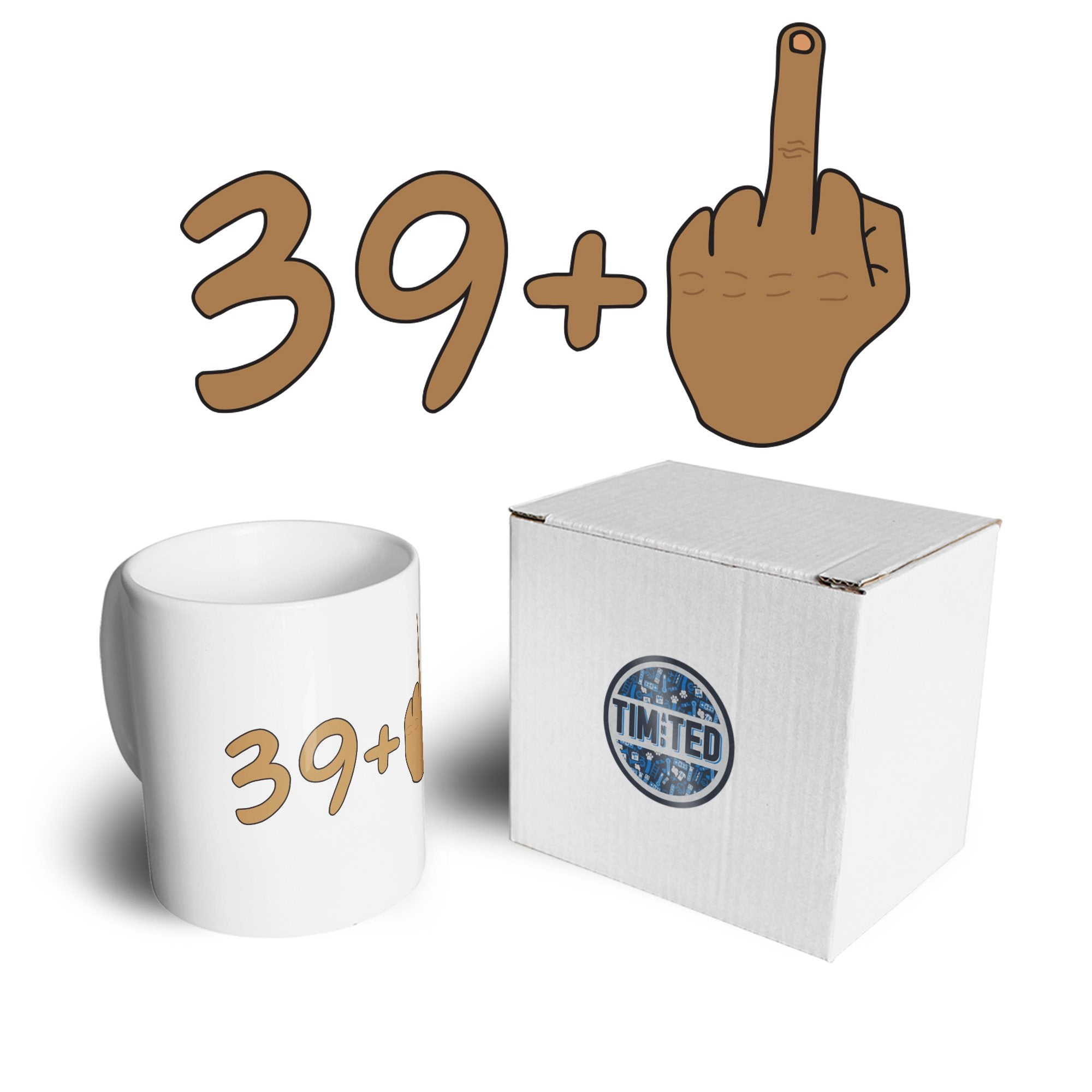 Rude 40th Birthday Mug Tanned Middle Finger Coffee Tea Cup