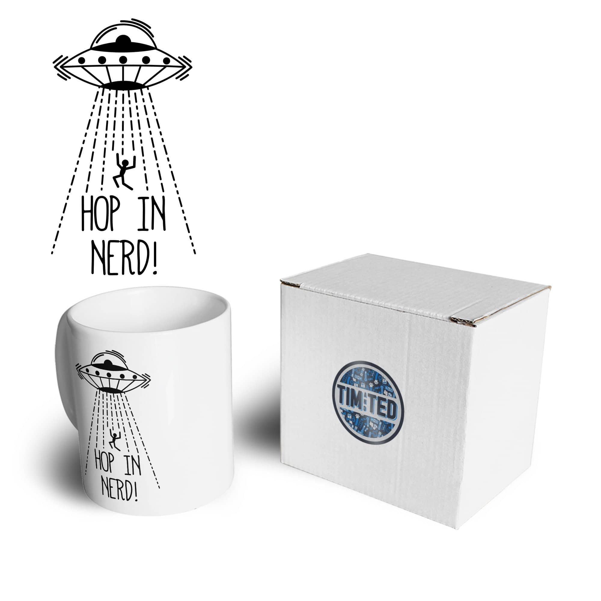 Novelty Alien UFO Mug Hop In, Nerd! Slogan Coffee Tea Cup