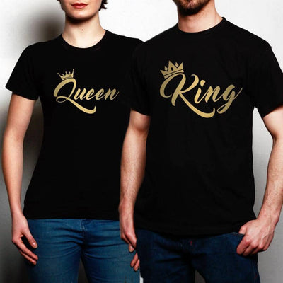 Couples Pack of 2 T-Shirts King Queen Gold Metallic Urban Valentines
