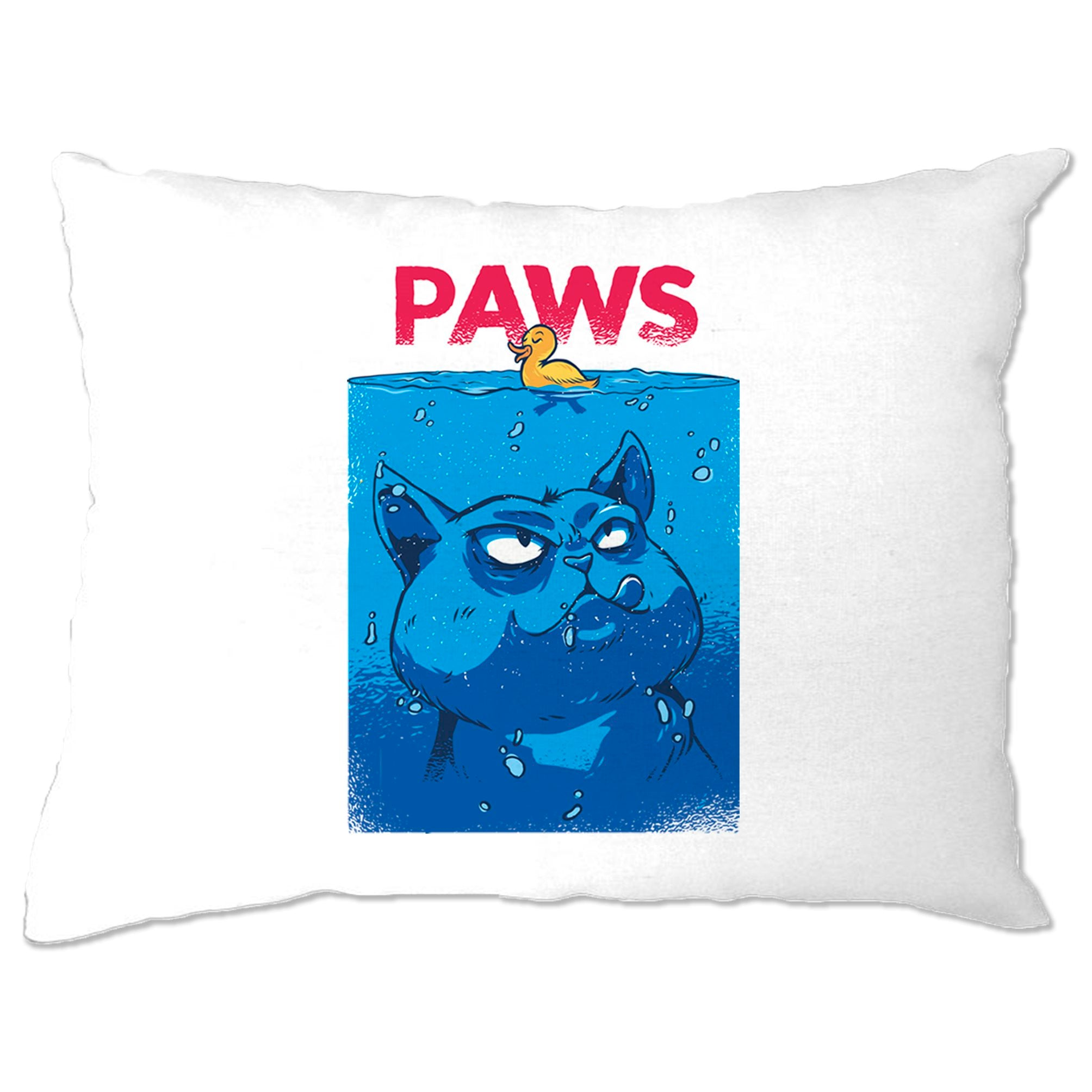 Funny Cat Pillow Case Paws The Movie Jaws Parody