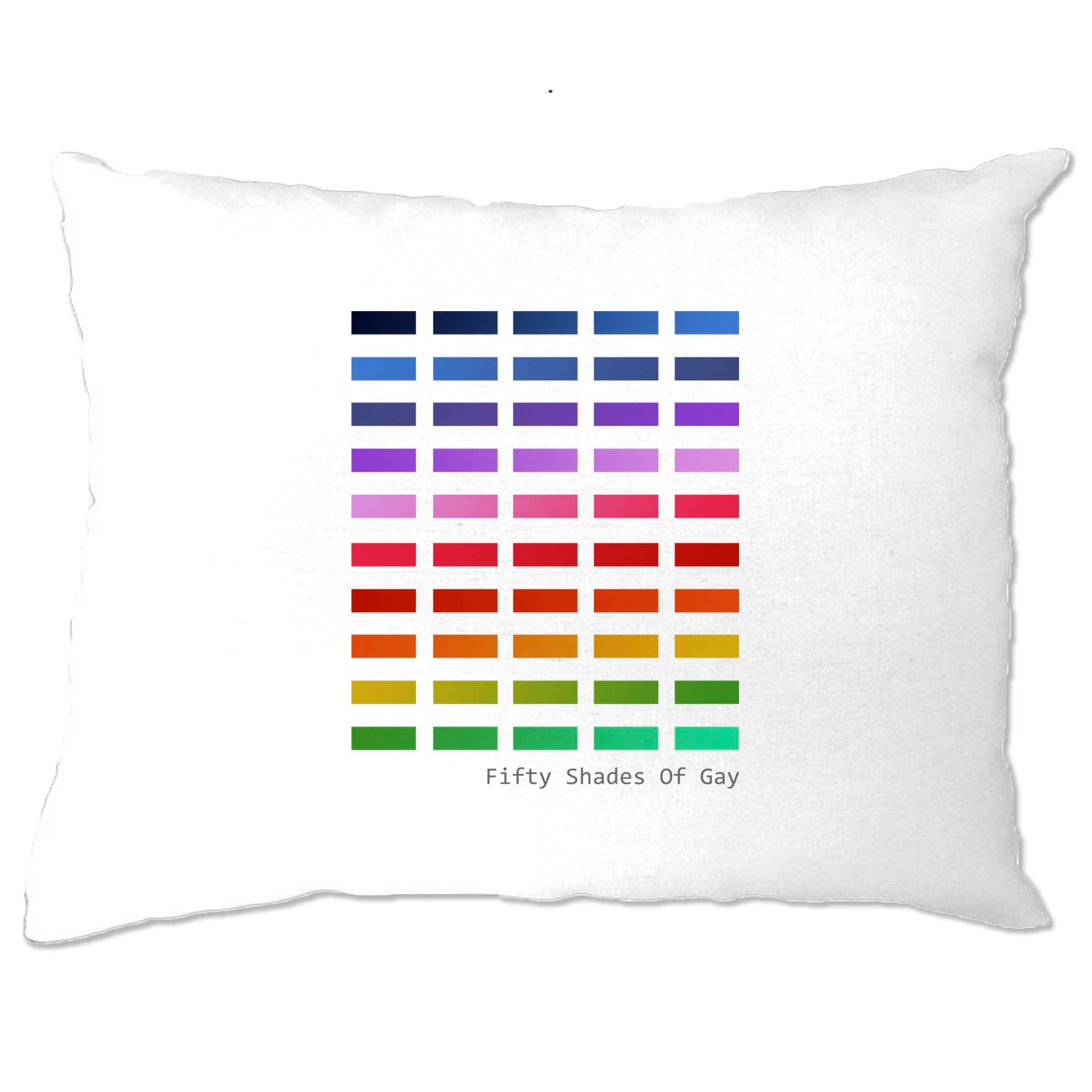 50 Shades Of Gay Pillow Case Rainbow LGBT+ Pride