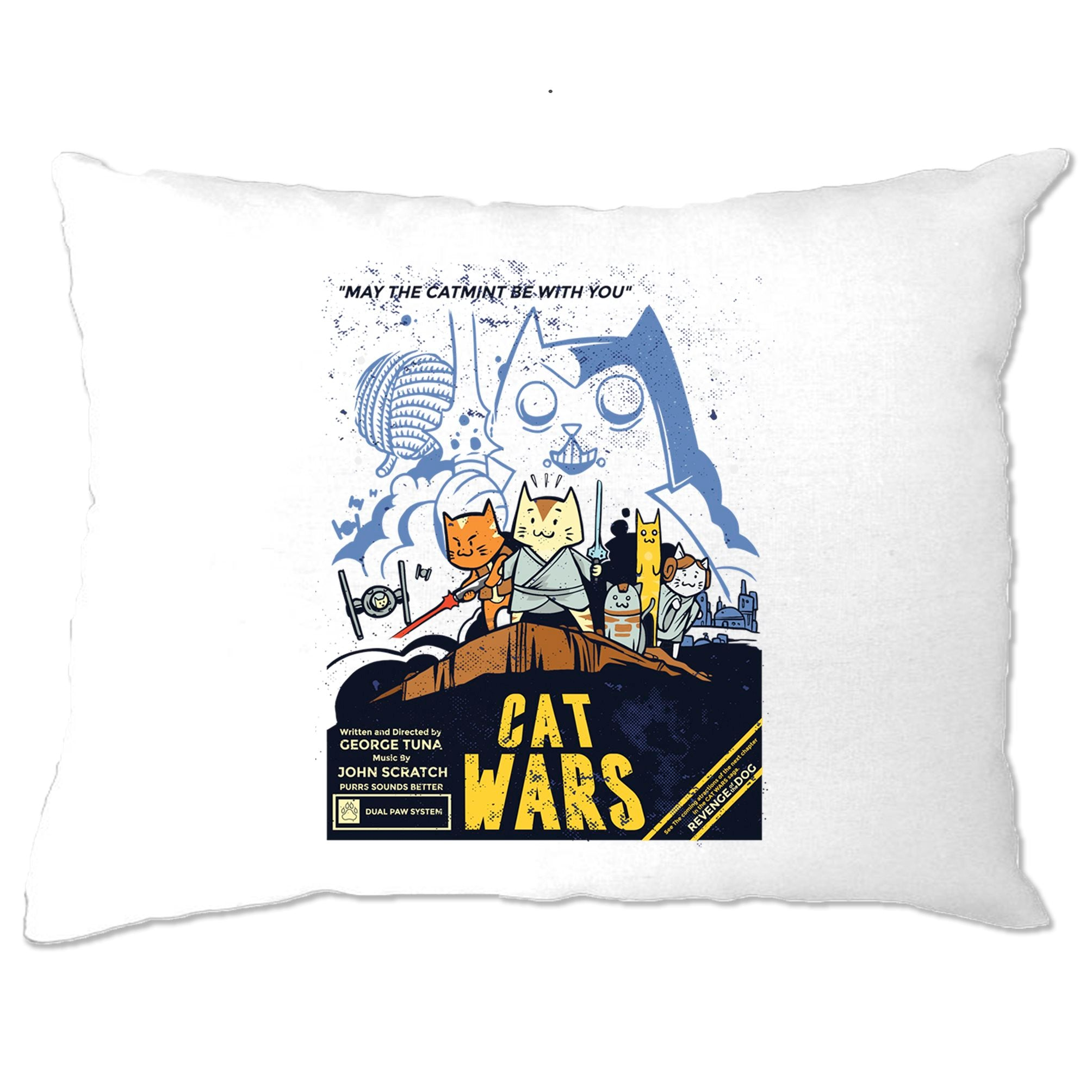 Cat Wars Pillow Case Funny Star Parody