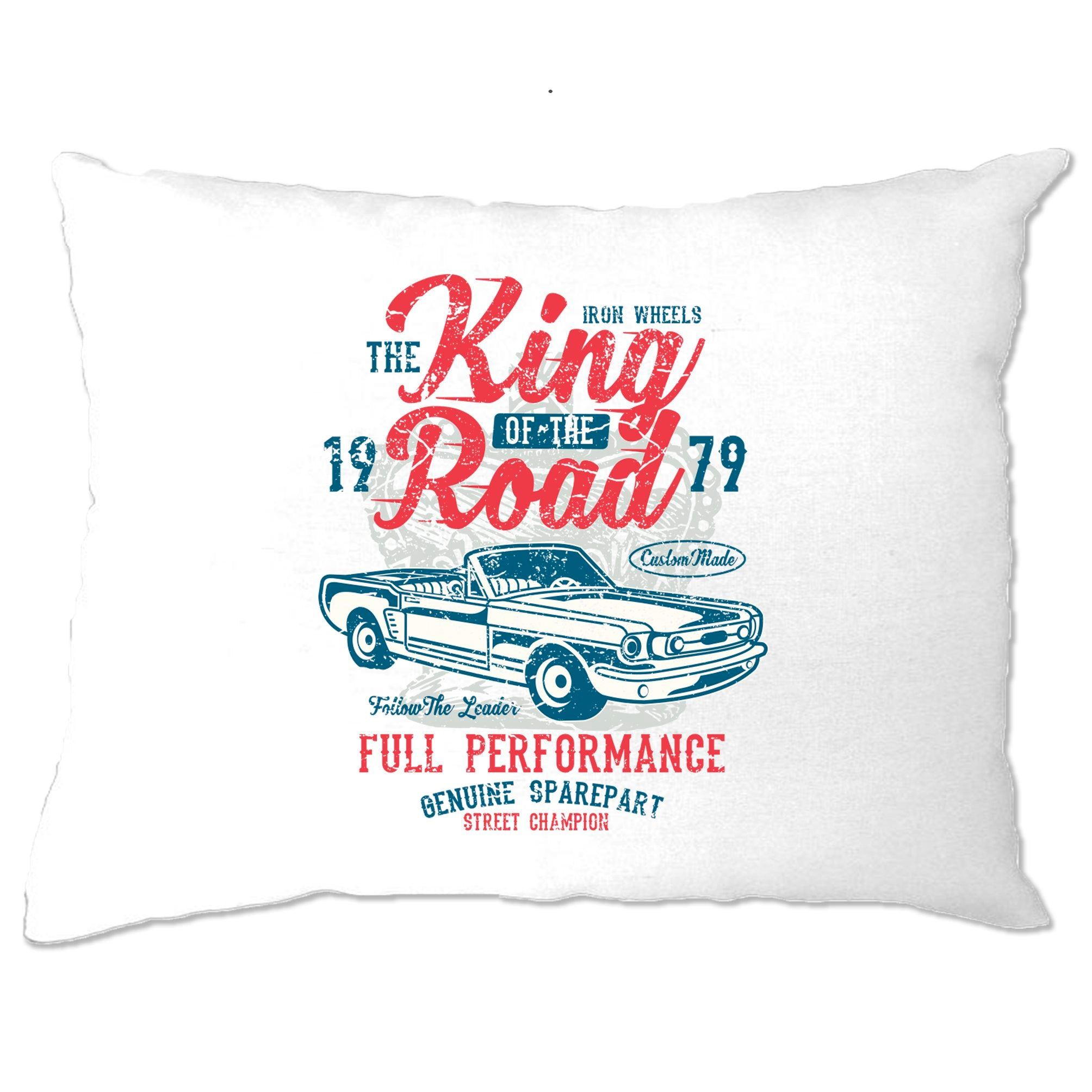 Retro Car Pillow Case King Of The Road 1979 Racing Art