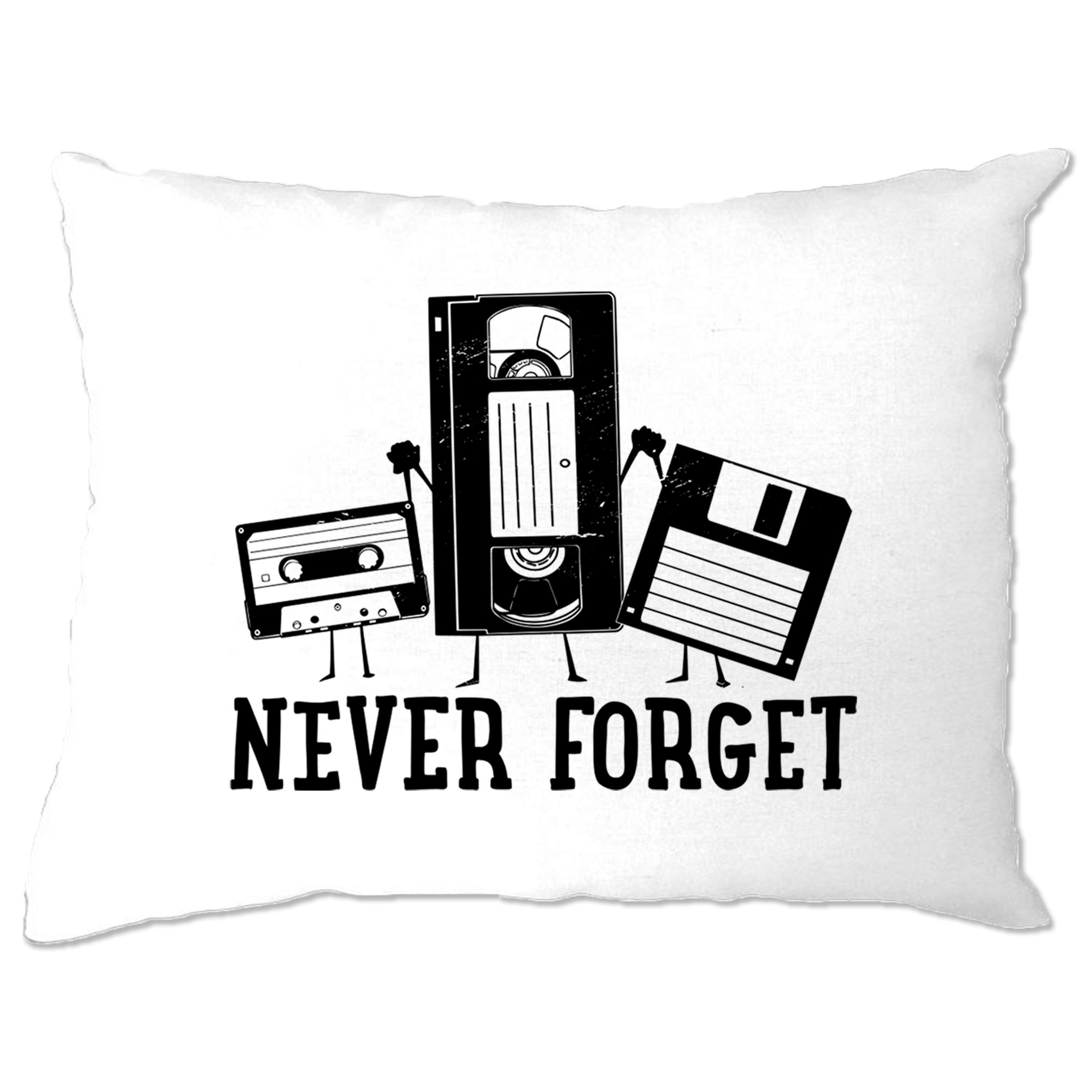 Retro Pillow Case Never Forget VHS and Floppy Discs