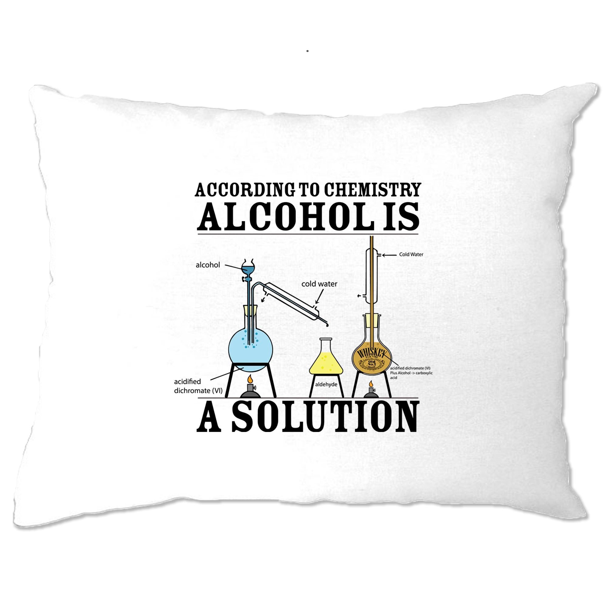 Pub Pillow Case According To Chemistry Alcohols a Solution
