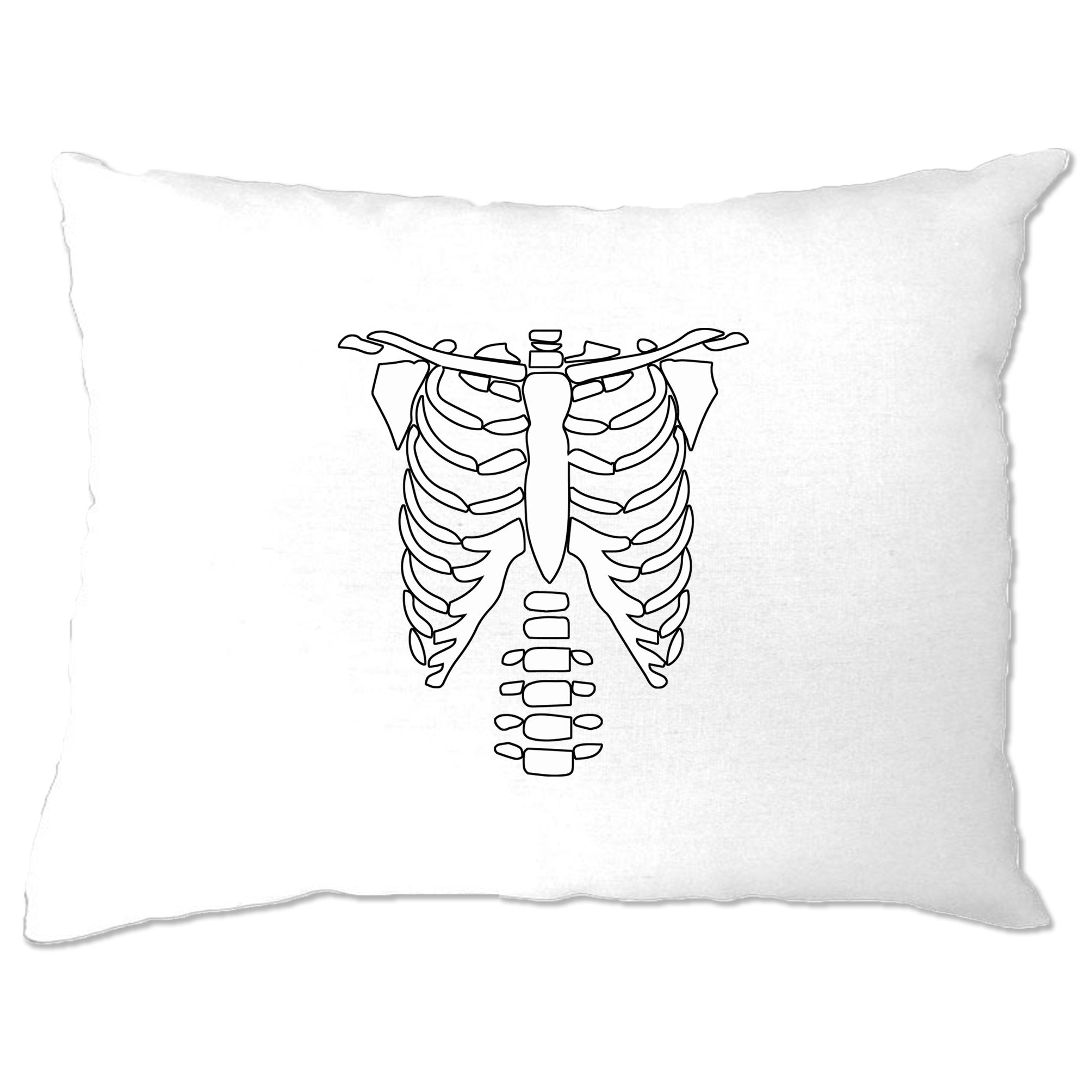 Halloween Pillow Case Skeleton Ribcage Chest
