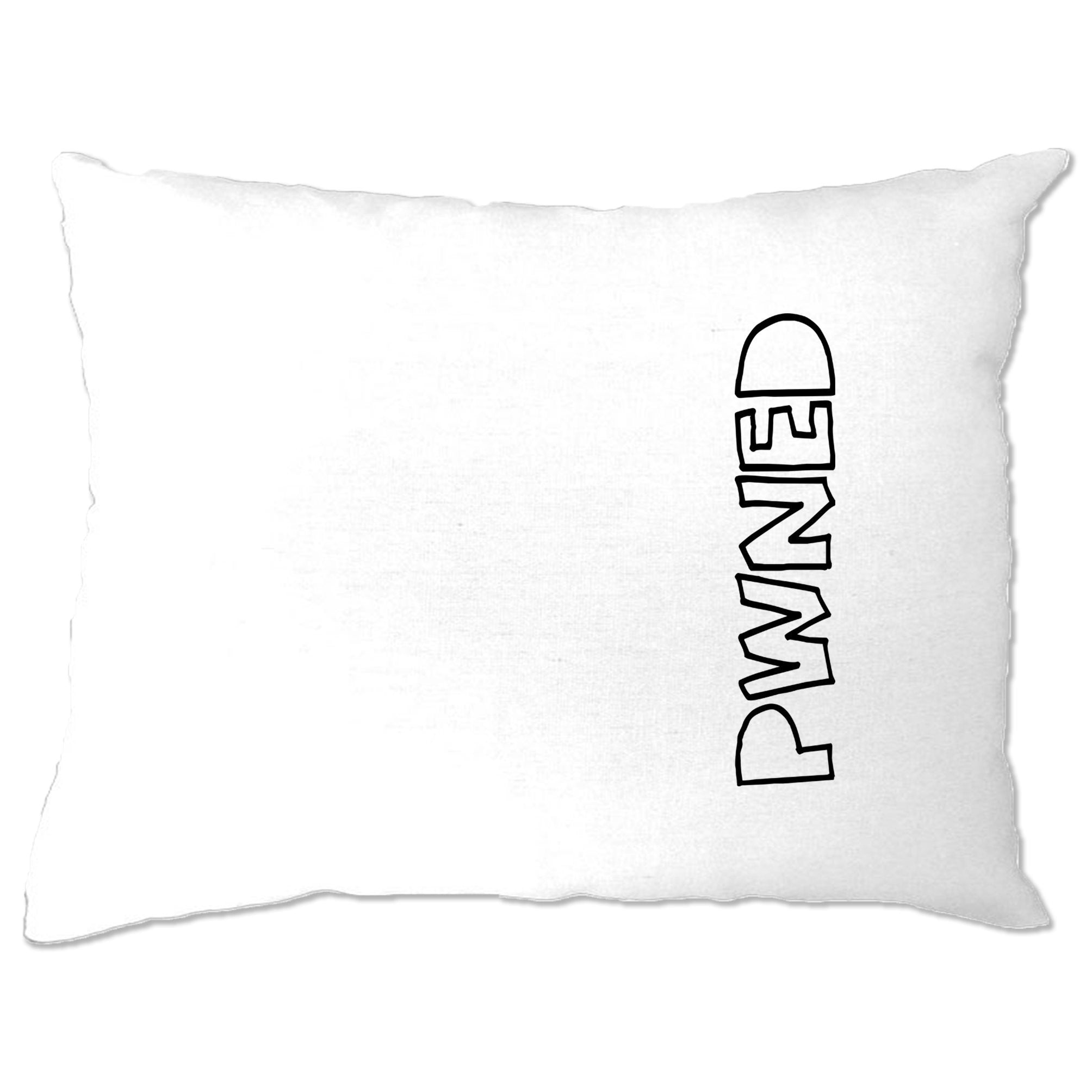 Novelty Gaming Pillow Case PWNED Sideways Text Slogan