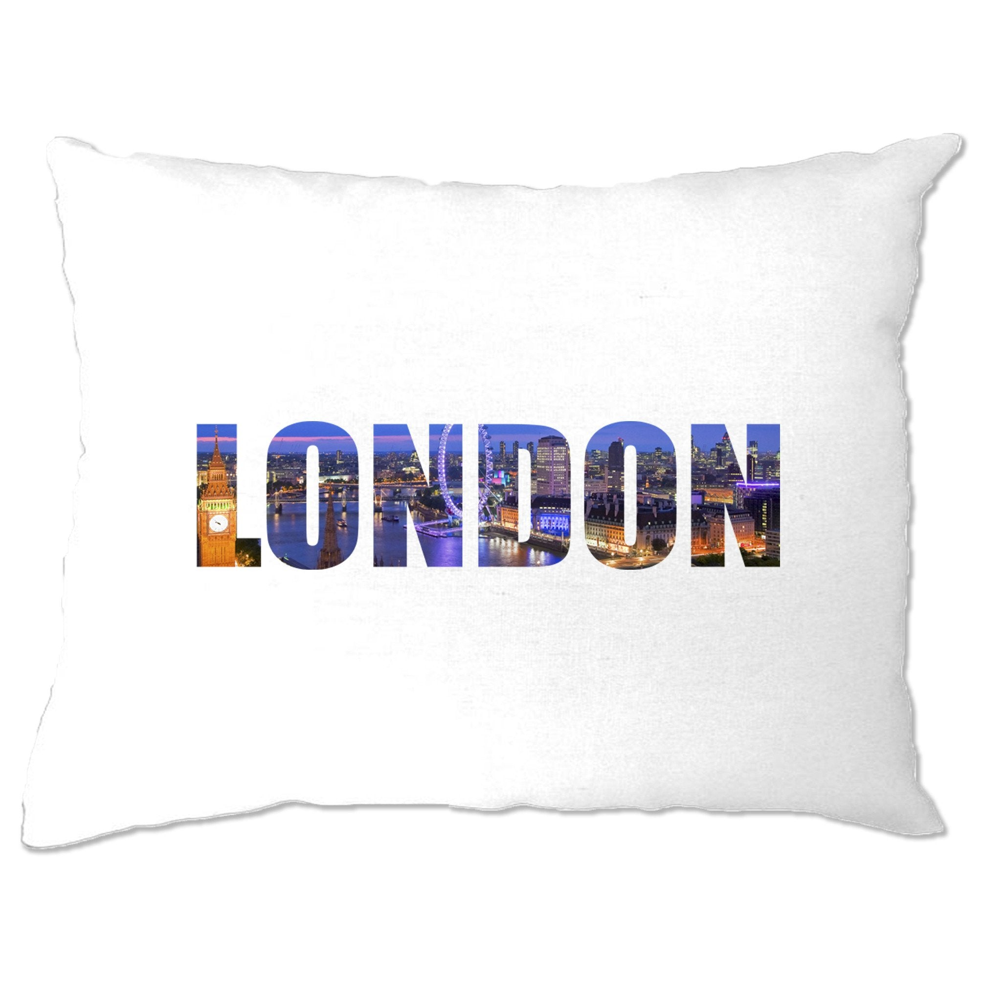 Tourist Pillow Case City Of London At Night Text Cutout