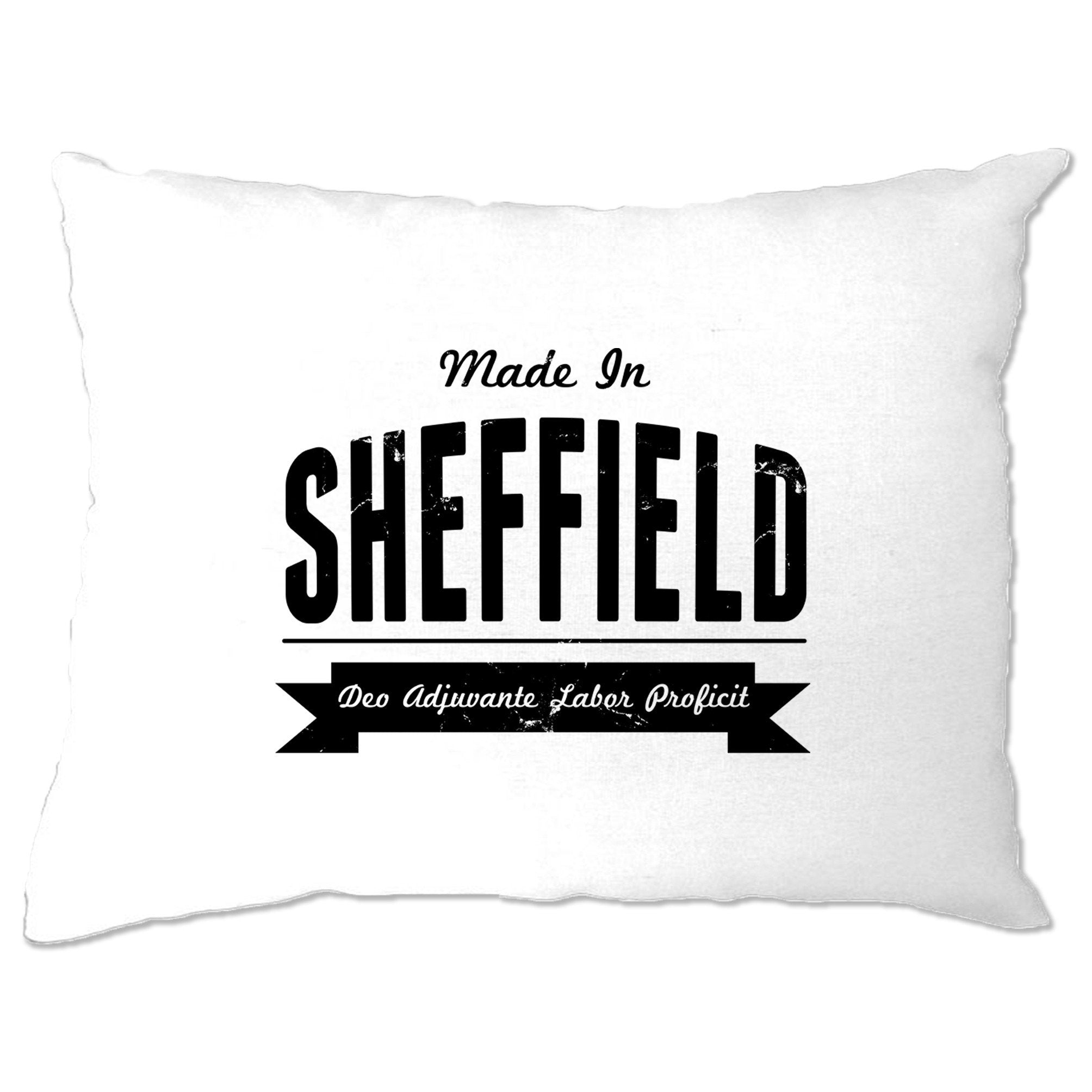Hometown Pride Pillow Case Made in Sheffield Banner