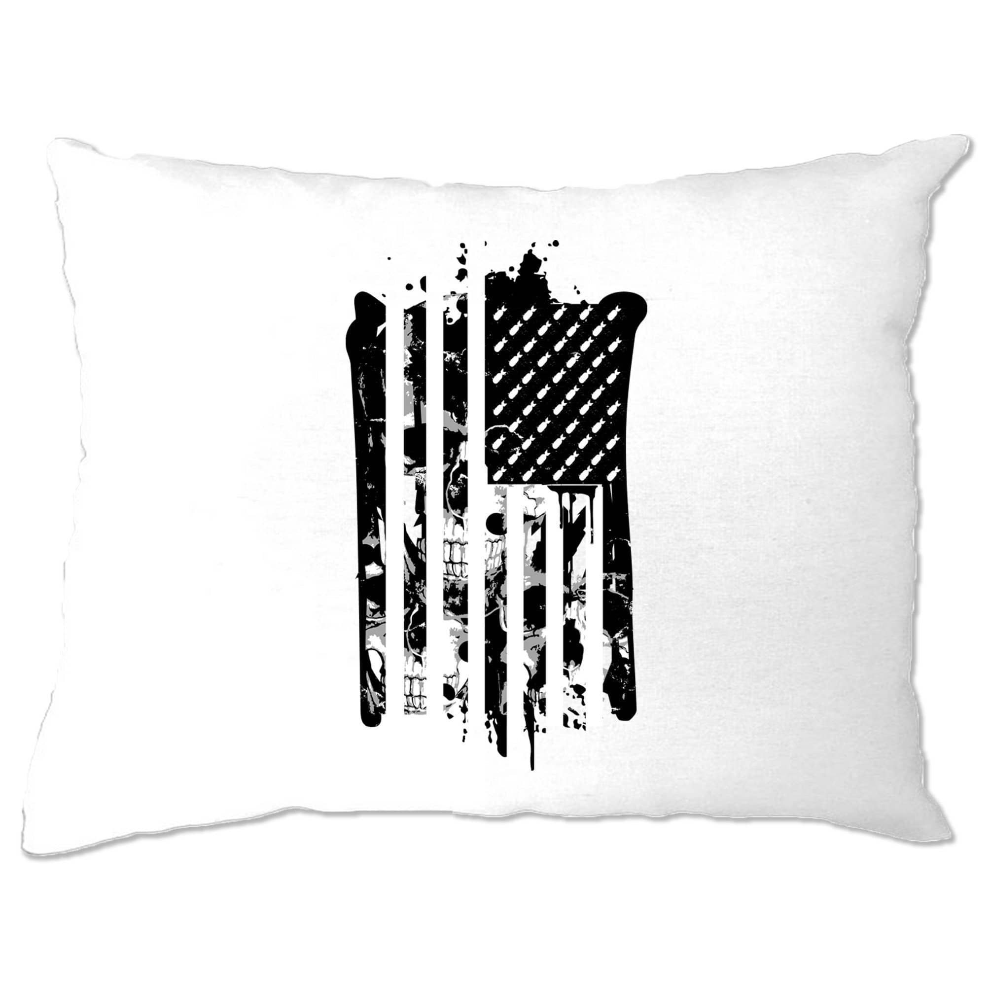 American Flag Pillow Case Stylised with Skulls and Bombs