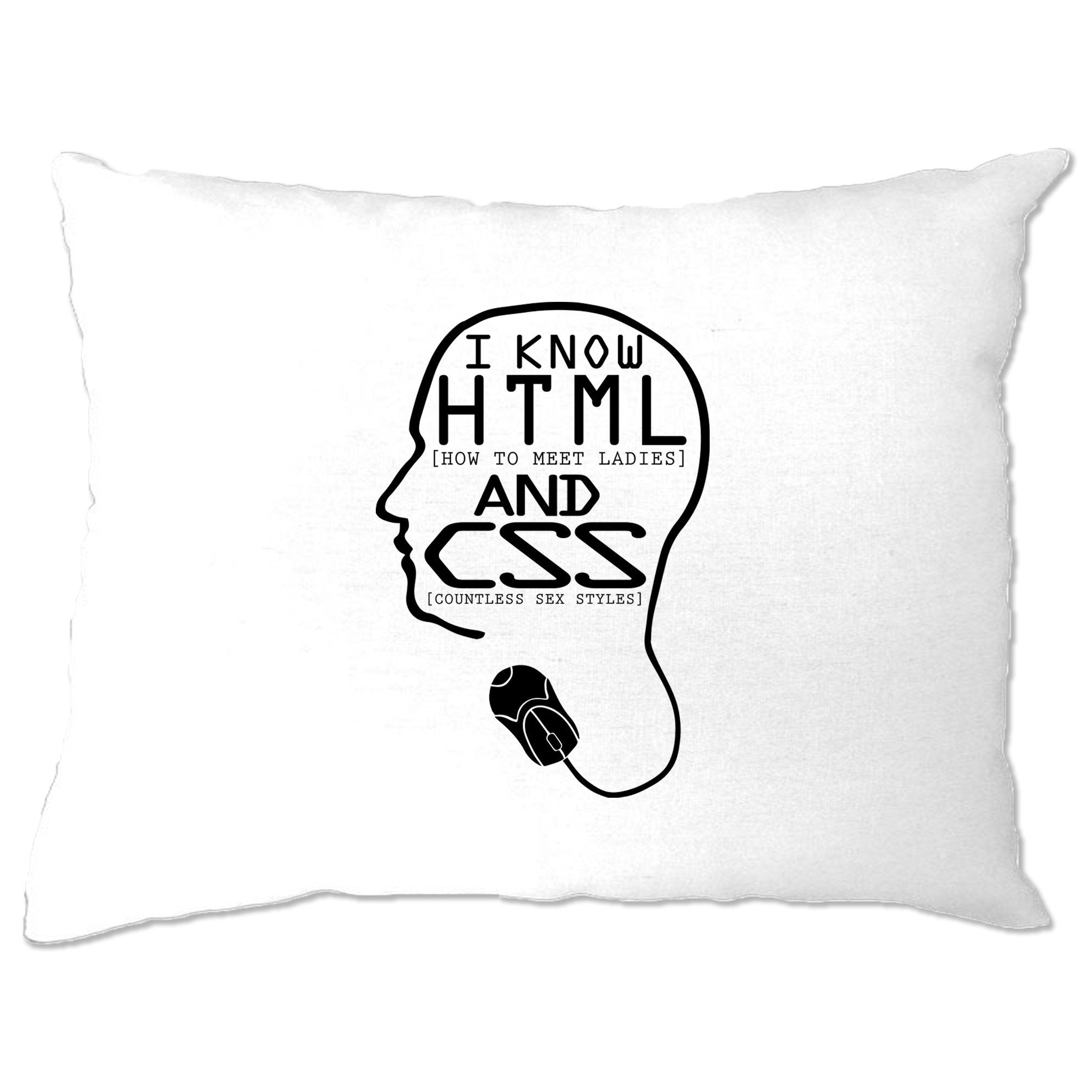 Nerdy Pillow Case I Know HTML And CSS Pickup Line