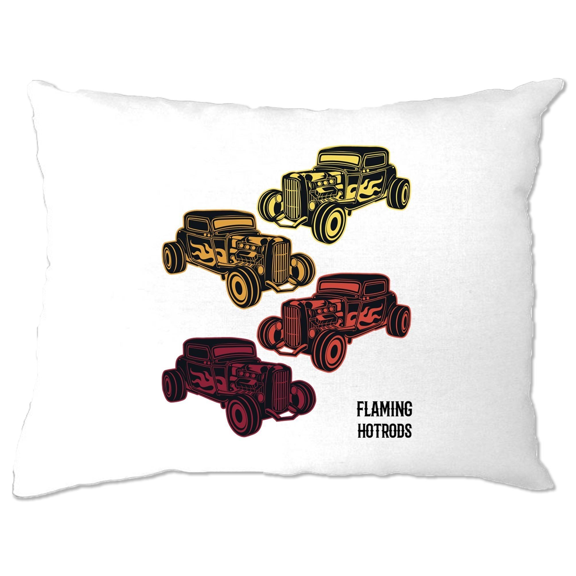 Vintage Pillow Case Flaming Hot Rods Cars