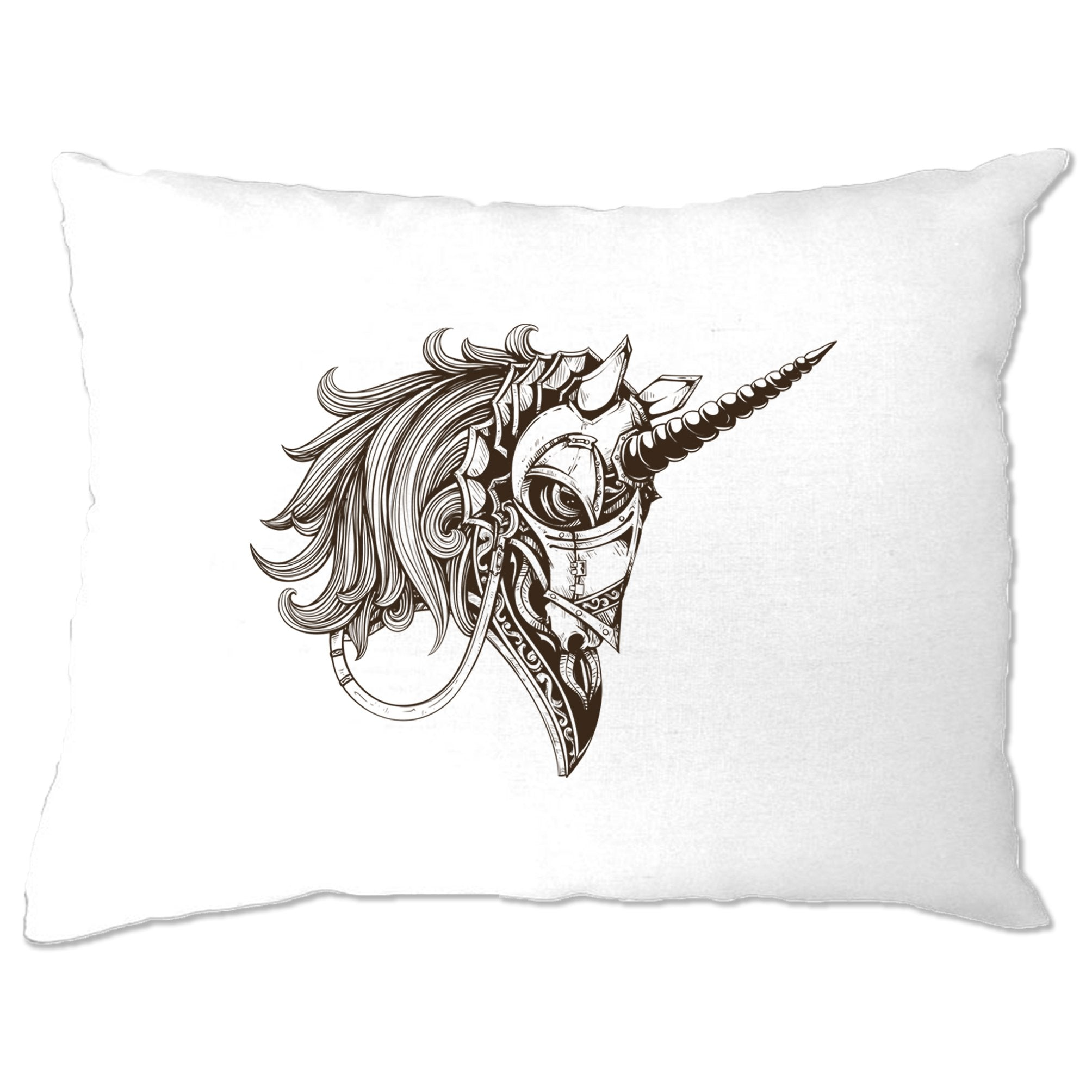Gothic Art Pillow Case Armoured Unicorn Graphic