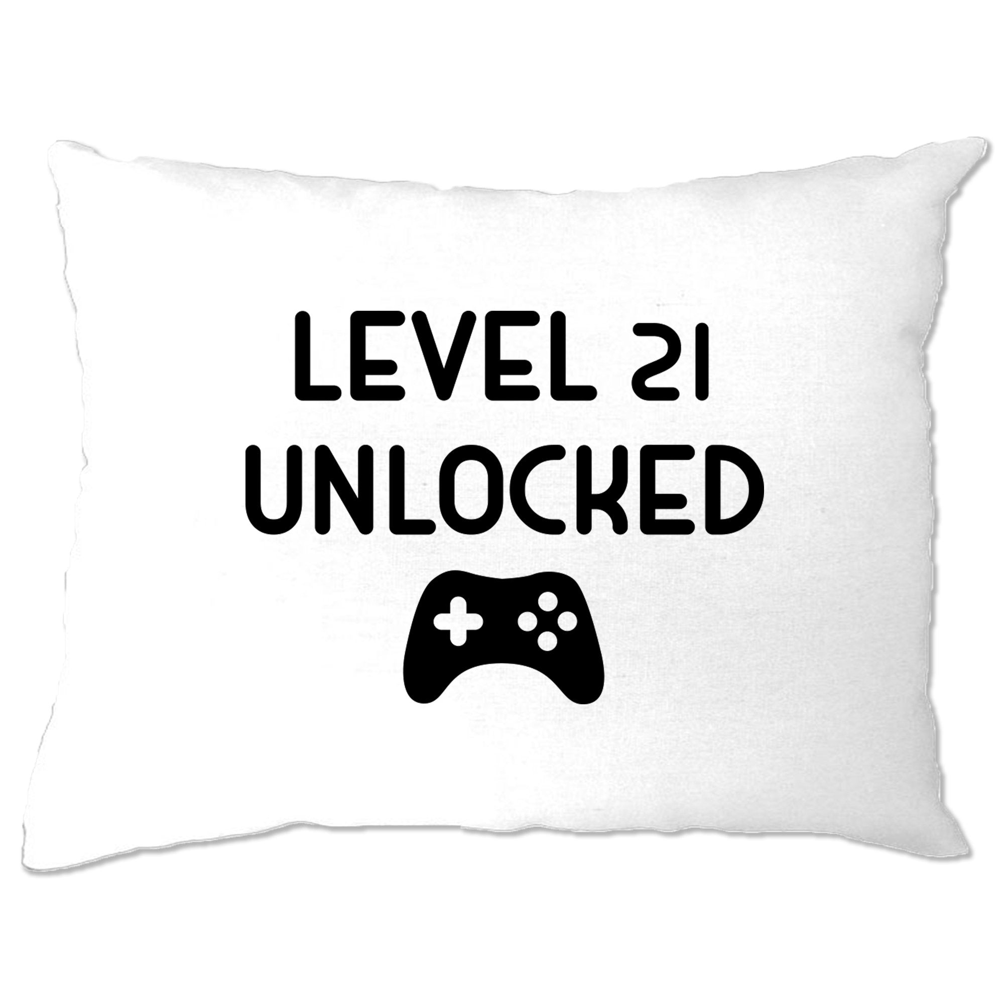 Gamers 21st Birthday Pillow Case Level 21 Unlocked Slogan