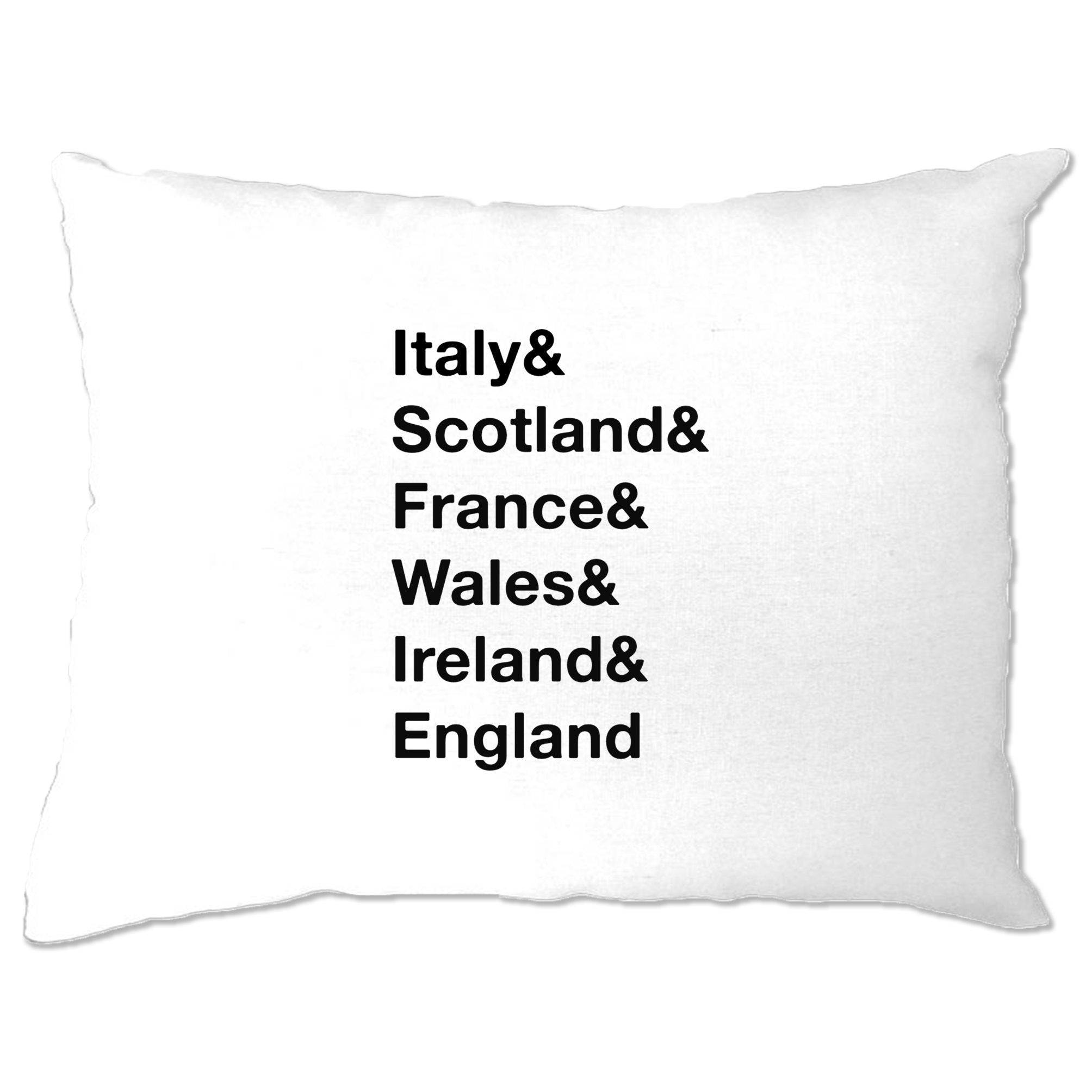 The Six Nations Pillow Case Italy, Scotland, France