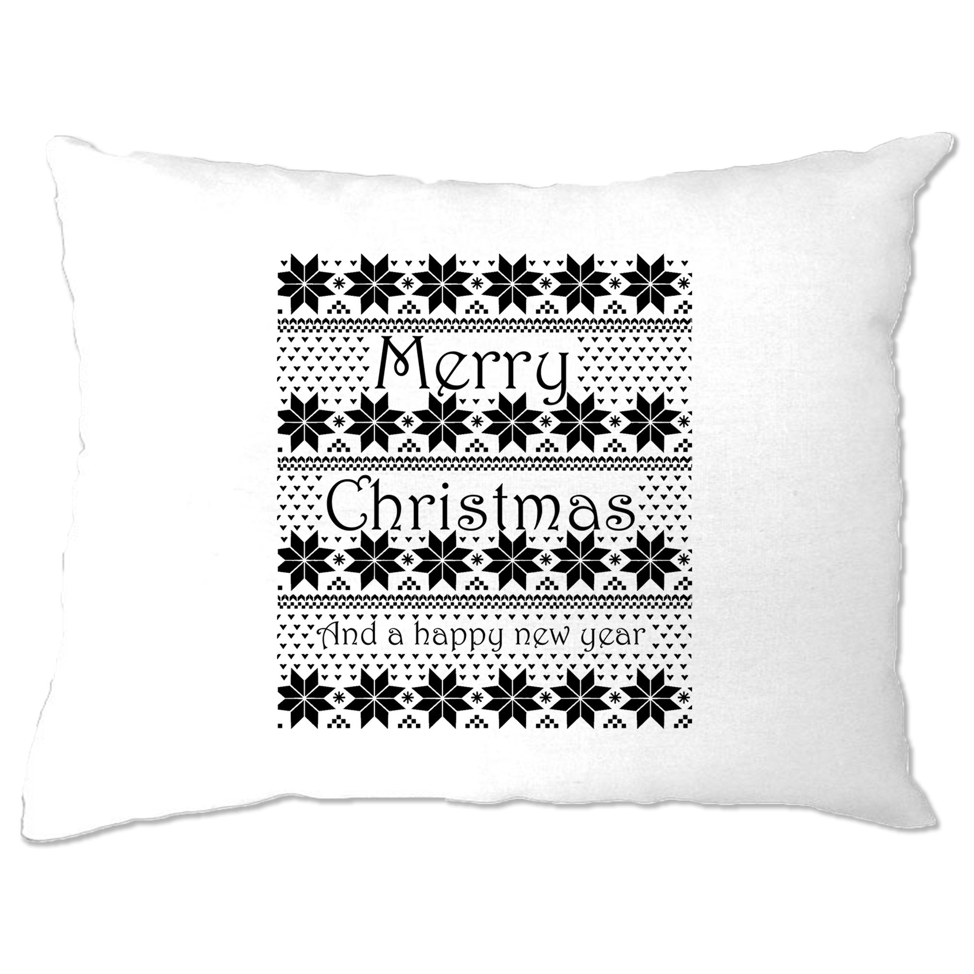 Merry Christmas Pillow Case Xmas Ugly Sweater Pattern
