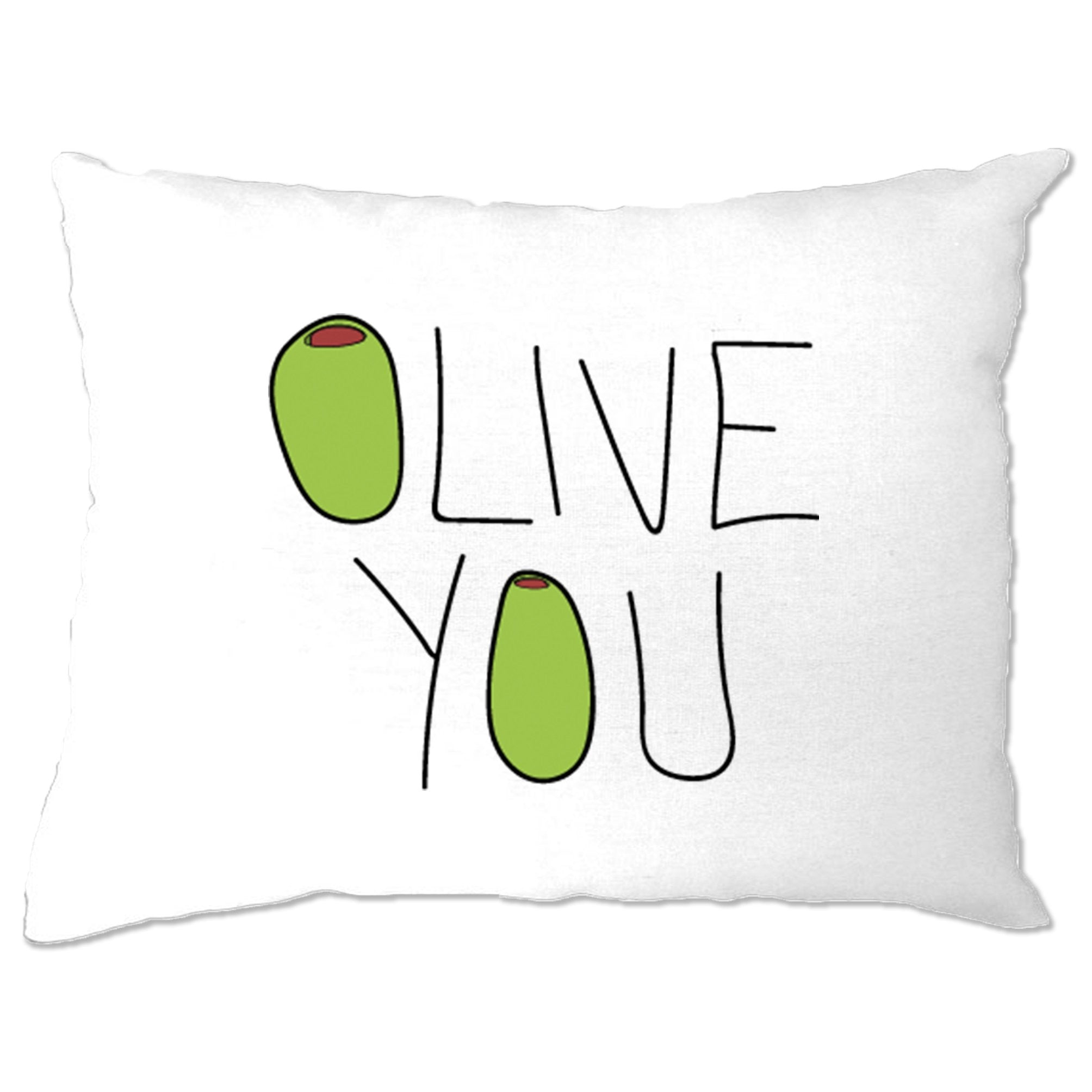 Valentines Day Pillow Case Olive You Slogan