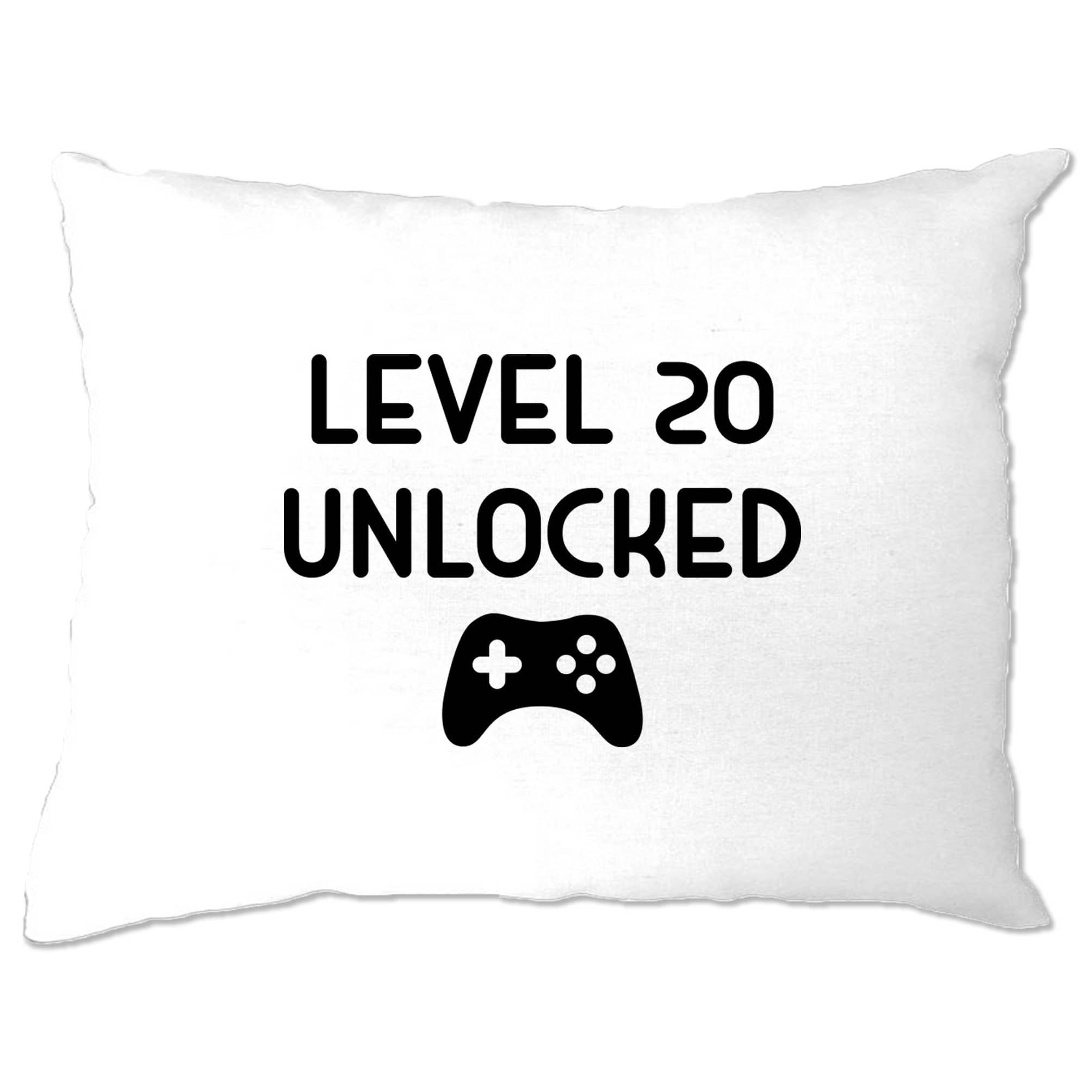 20th Birthday Gamer Pillow Case Level 20 Unlocked Slogan