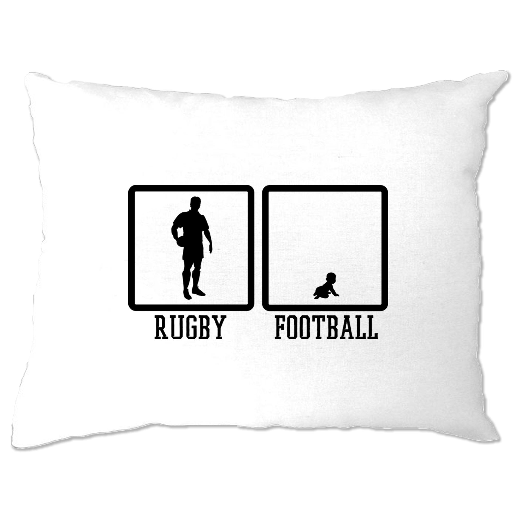 Joke Sports Pillow Case Rugby Vs Football Baby Novelty