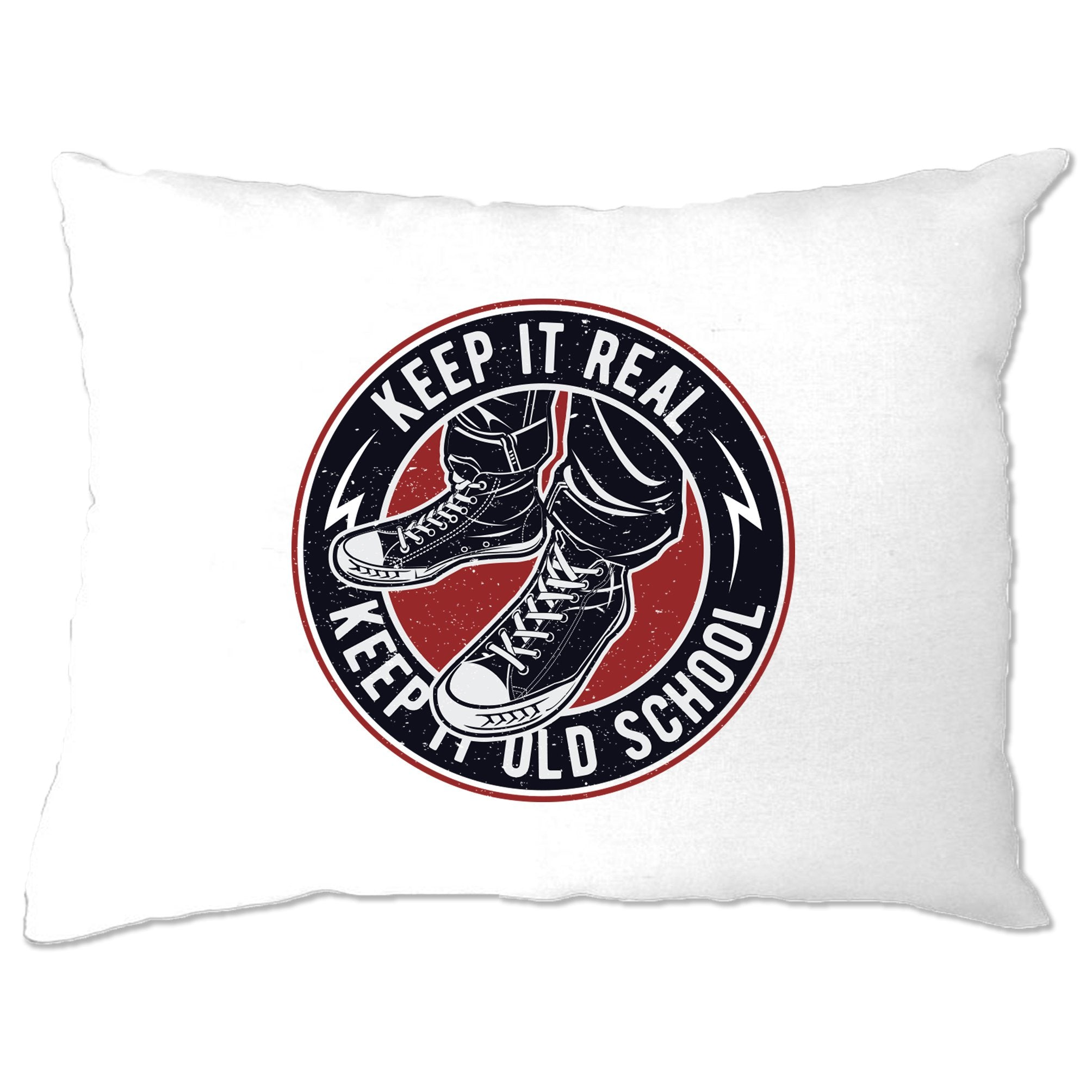 Retro Pillow Case Keep It Real, Keep It Old School Logo
