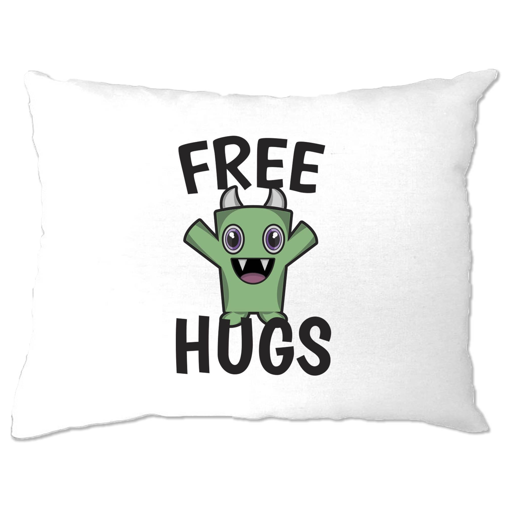 Festival Pillow Case Free Hugs Slogan With Cute Monster