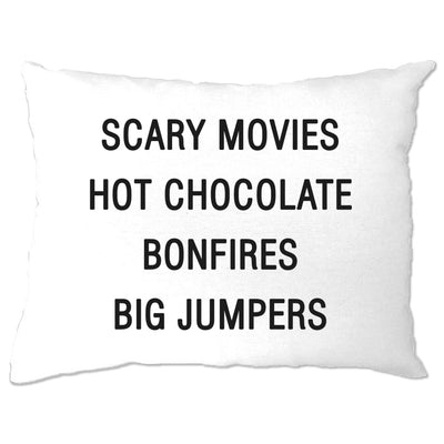 Autumn Pillow Case Scary Movies, Hot Chocolate, Bonfires