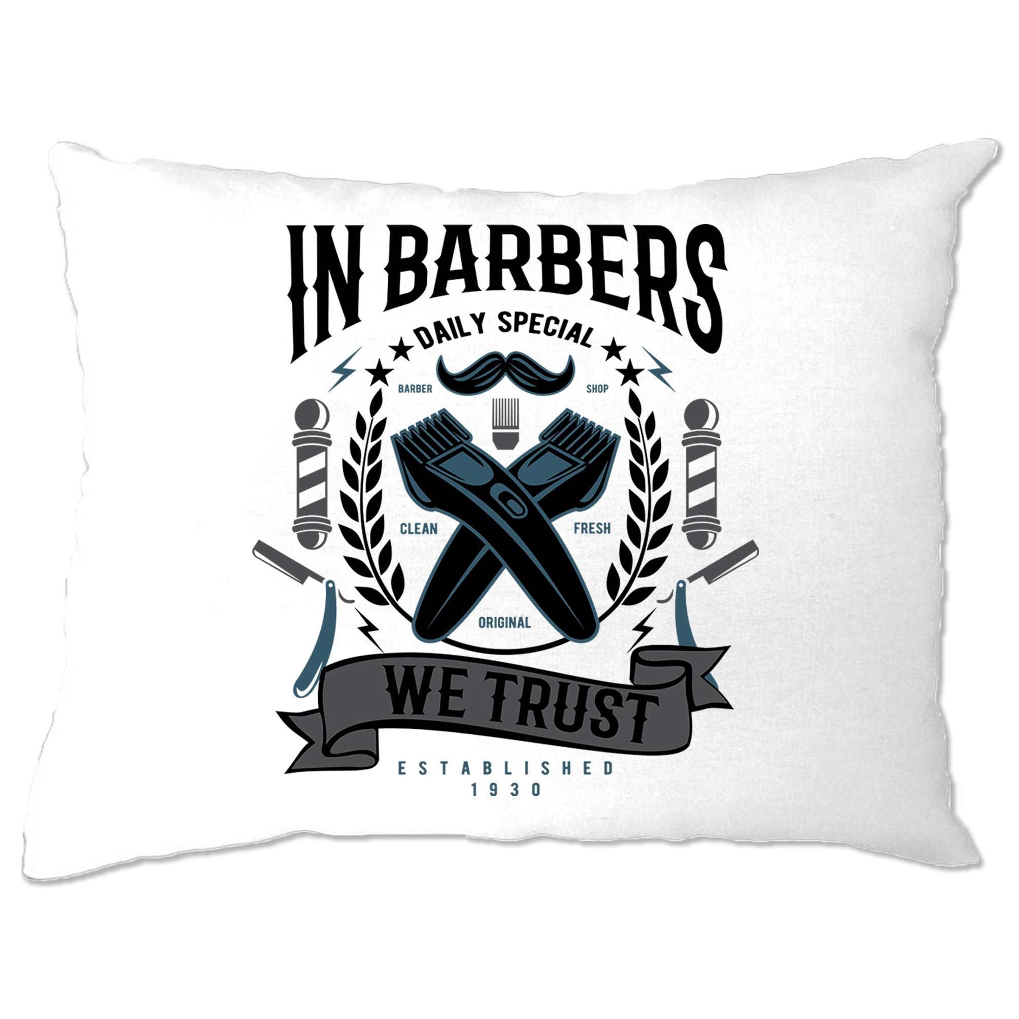 Novelty Pillow Case In Barbers We Trust Logo