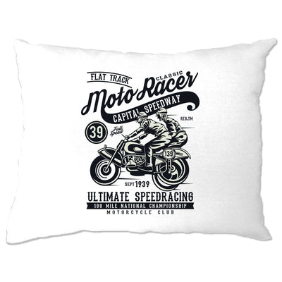 Biker Pillow Case Classic Moto Racer Captial Speedway Art