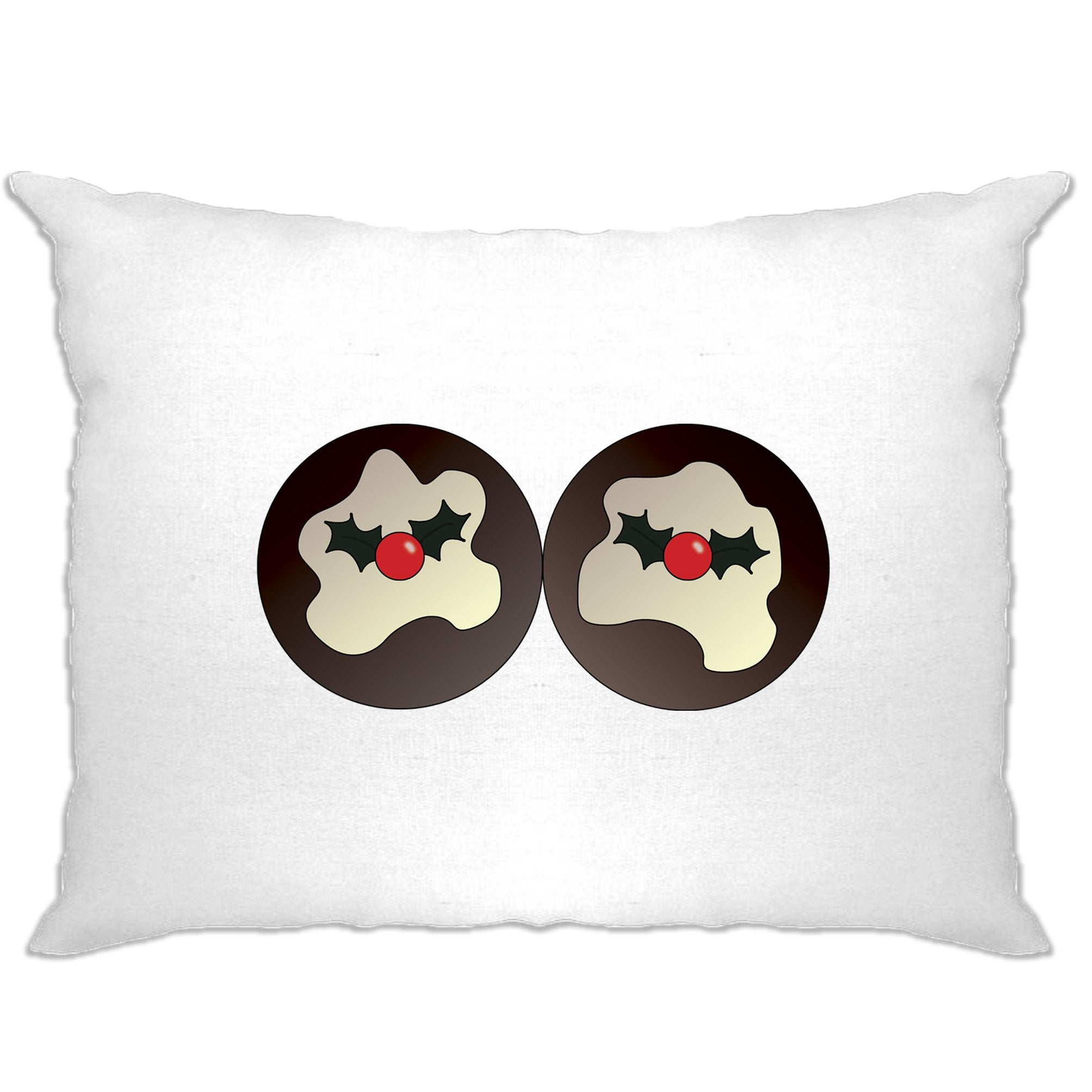 Rude Xmas Pillow Case Christmas Pudding Breasts