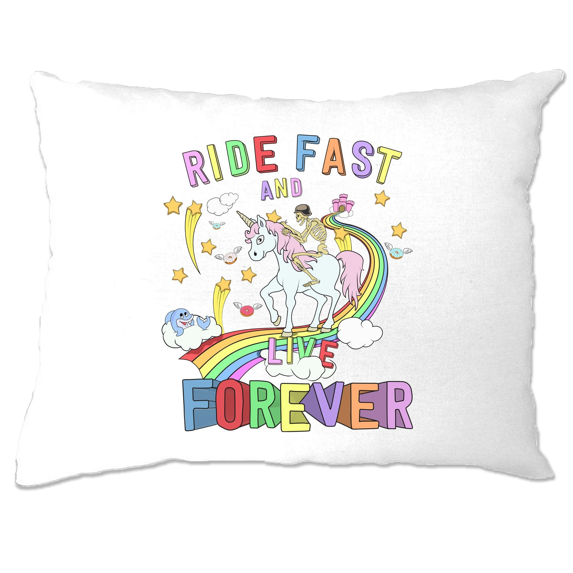 Unicorn Pillow Case Ride Fast And Live Forever Skeleton