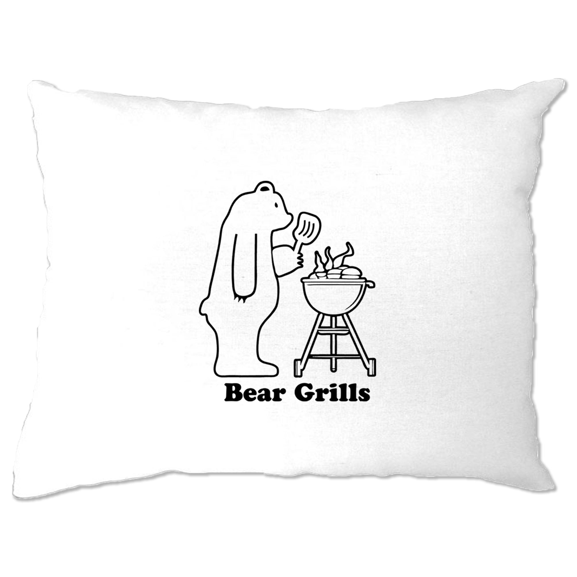 Novelty Barbecue Pillow Case Grilling Bear Grills Joke