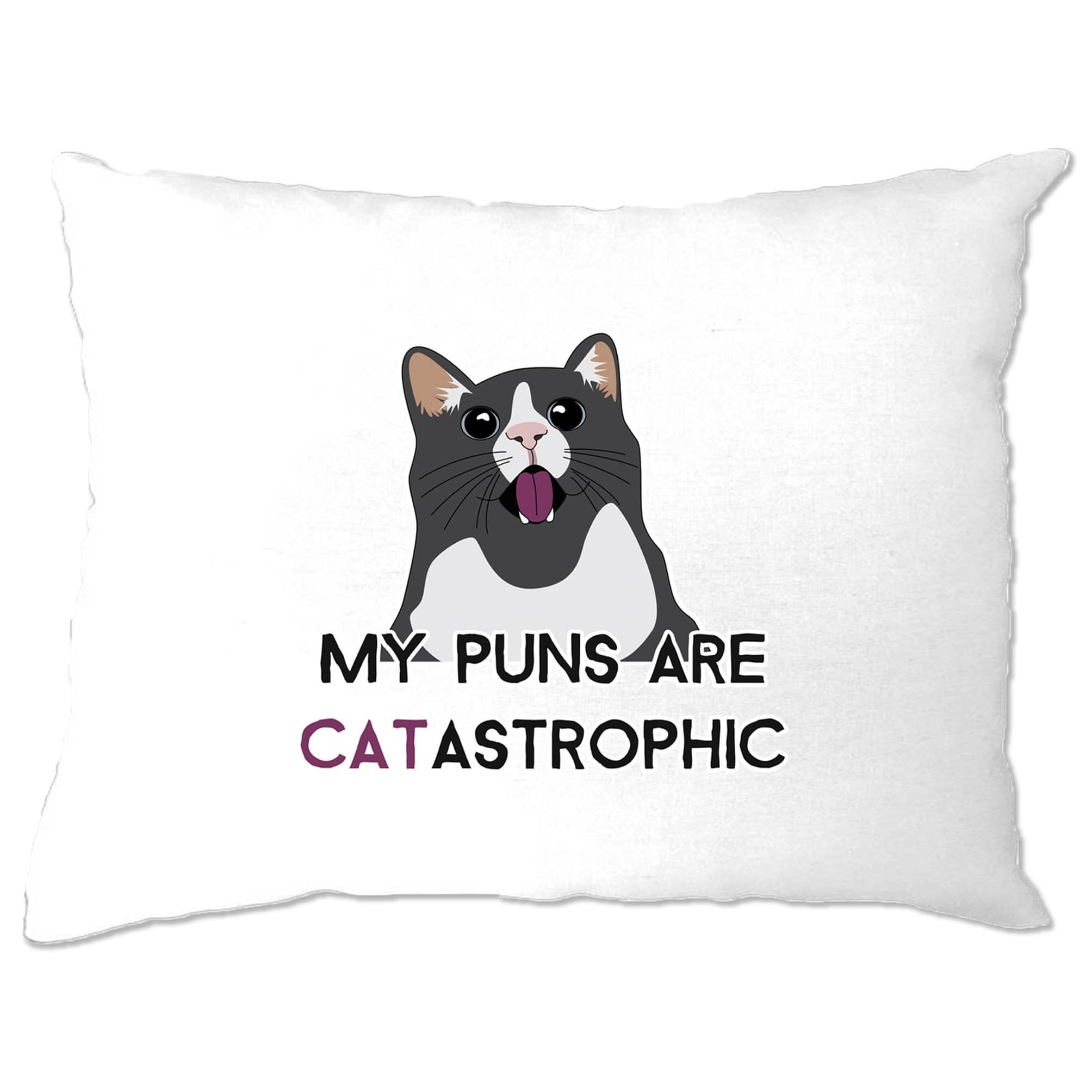 Novelty Cat Pillow Case My Puns Are Catastrophic Joke