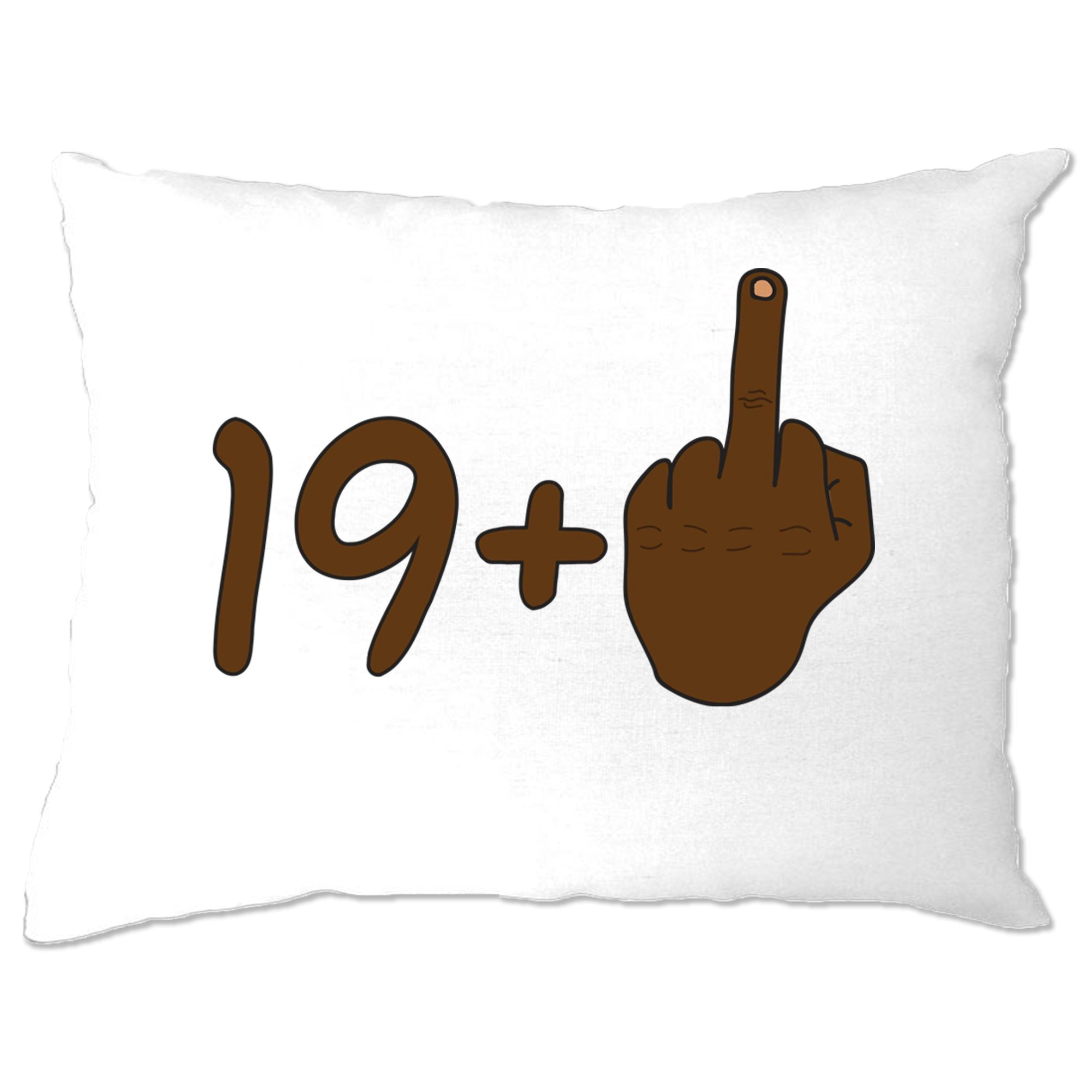 Rude 20th Birthday Pillow Case Black Middle Finger
