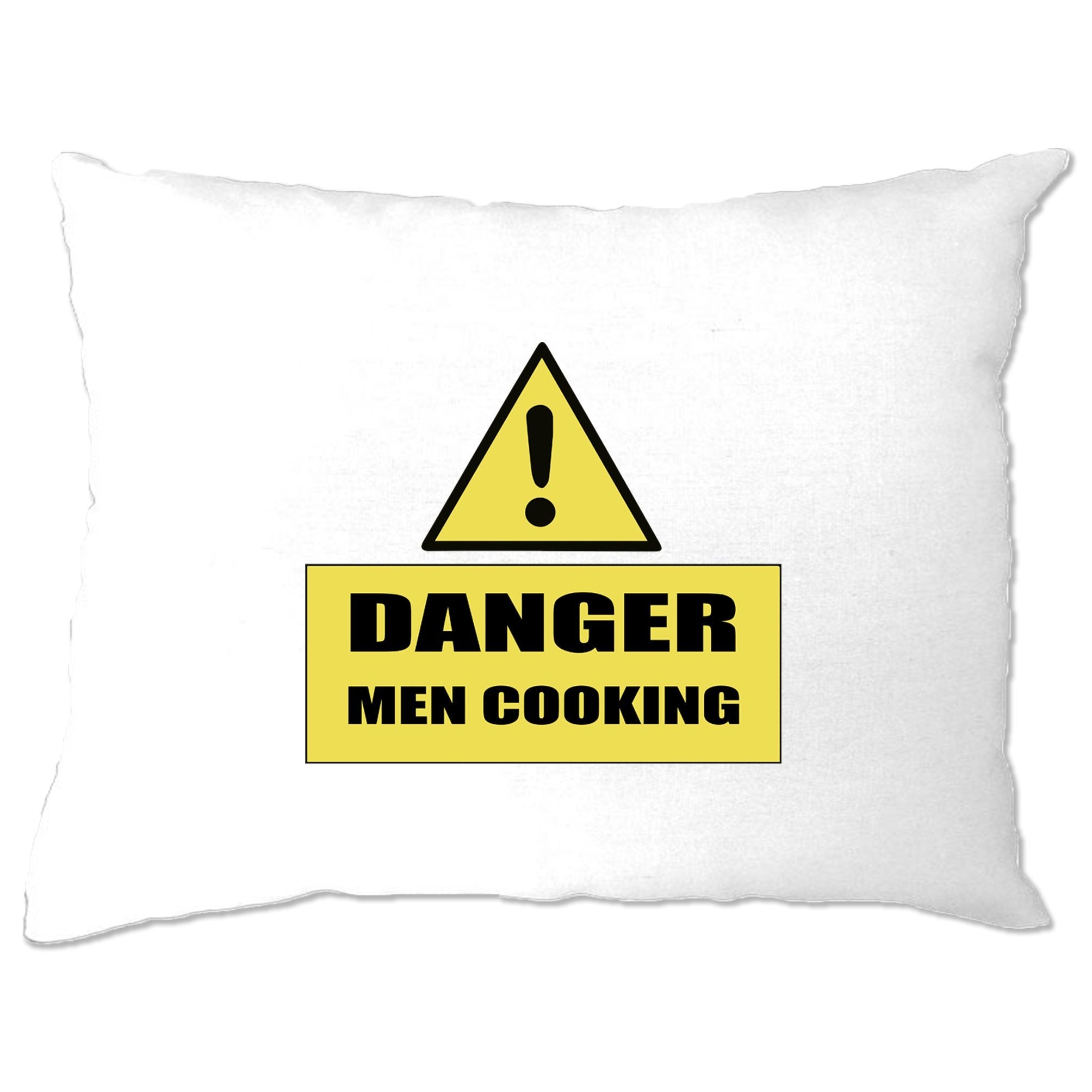 Novelty Barbecue Pillow Case Danger! Men Cooking Sign