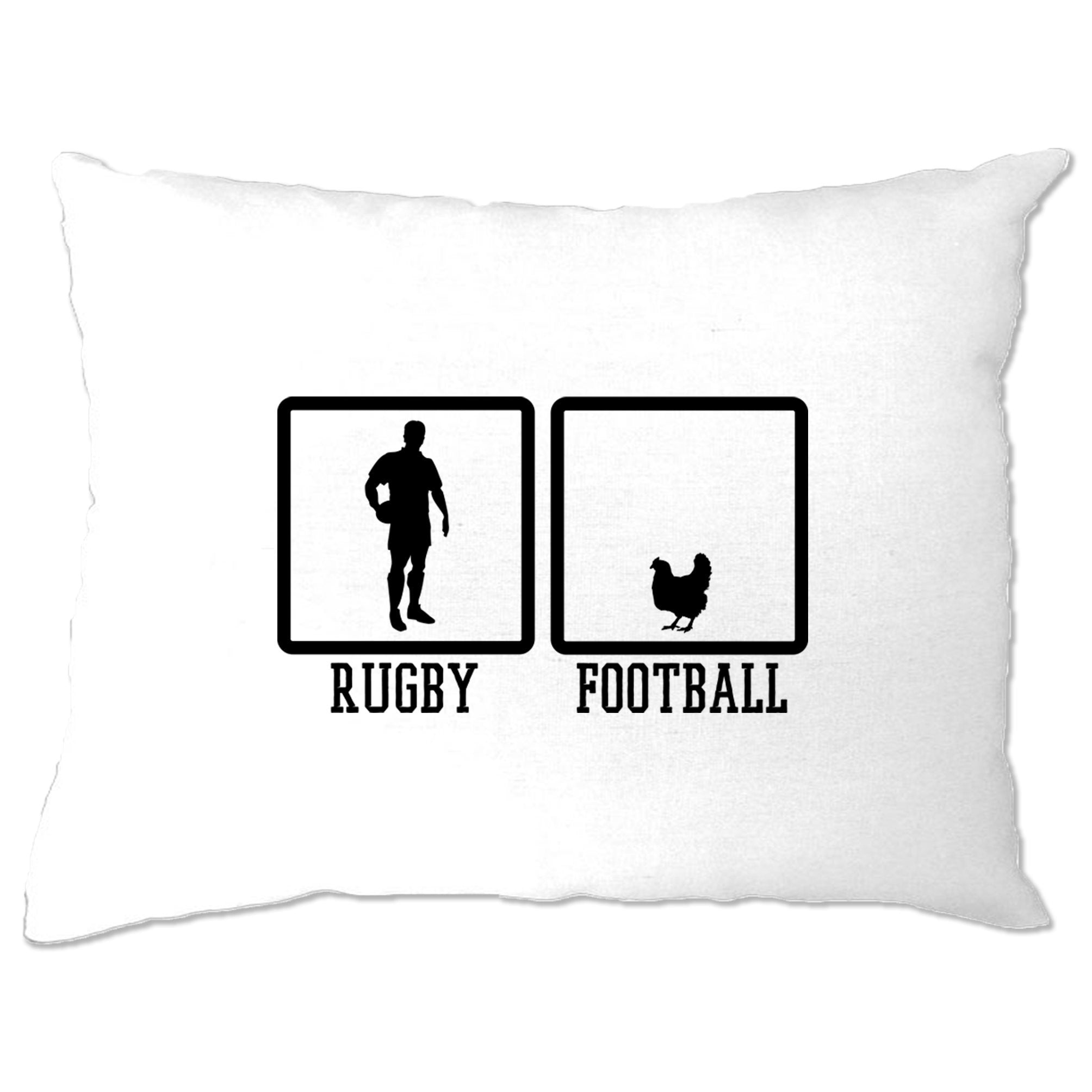 Joke Sports Pillow Case Rugby Vs Football Chicken Novelty