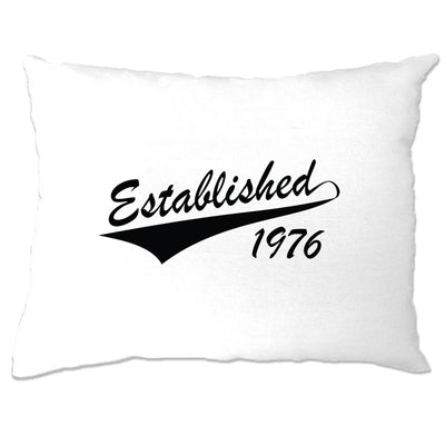 Birthday Pillow Case Established in 1976 Logo