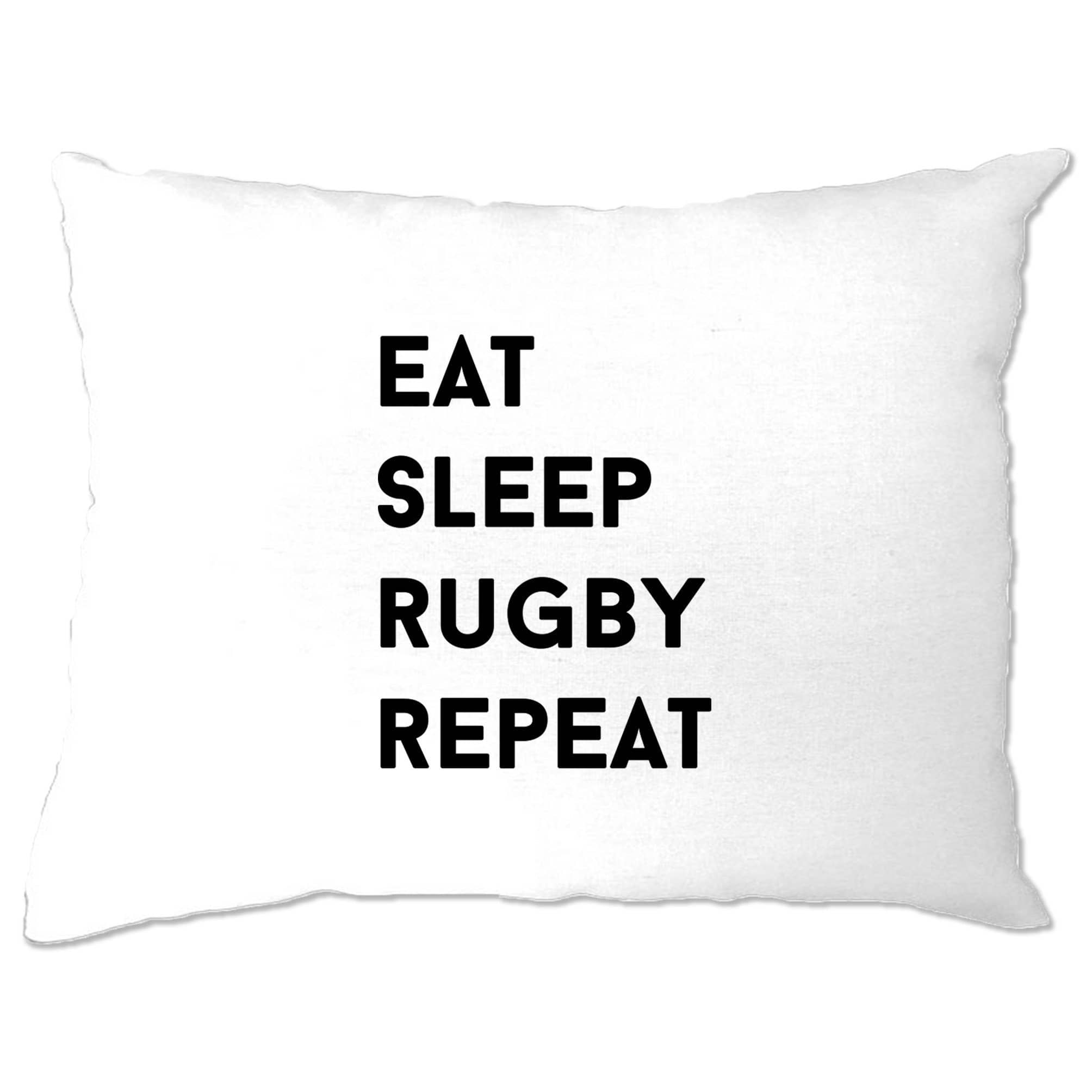 Novelty Pillow Case Eat, Sleep, Rugby, Repeat Slogan