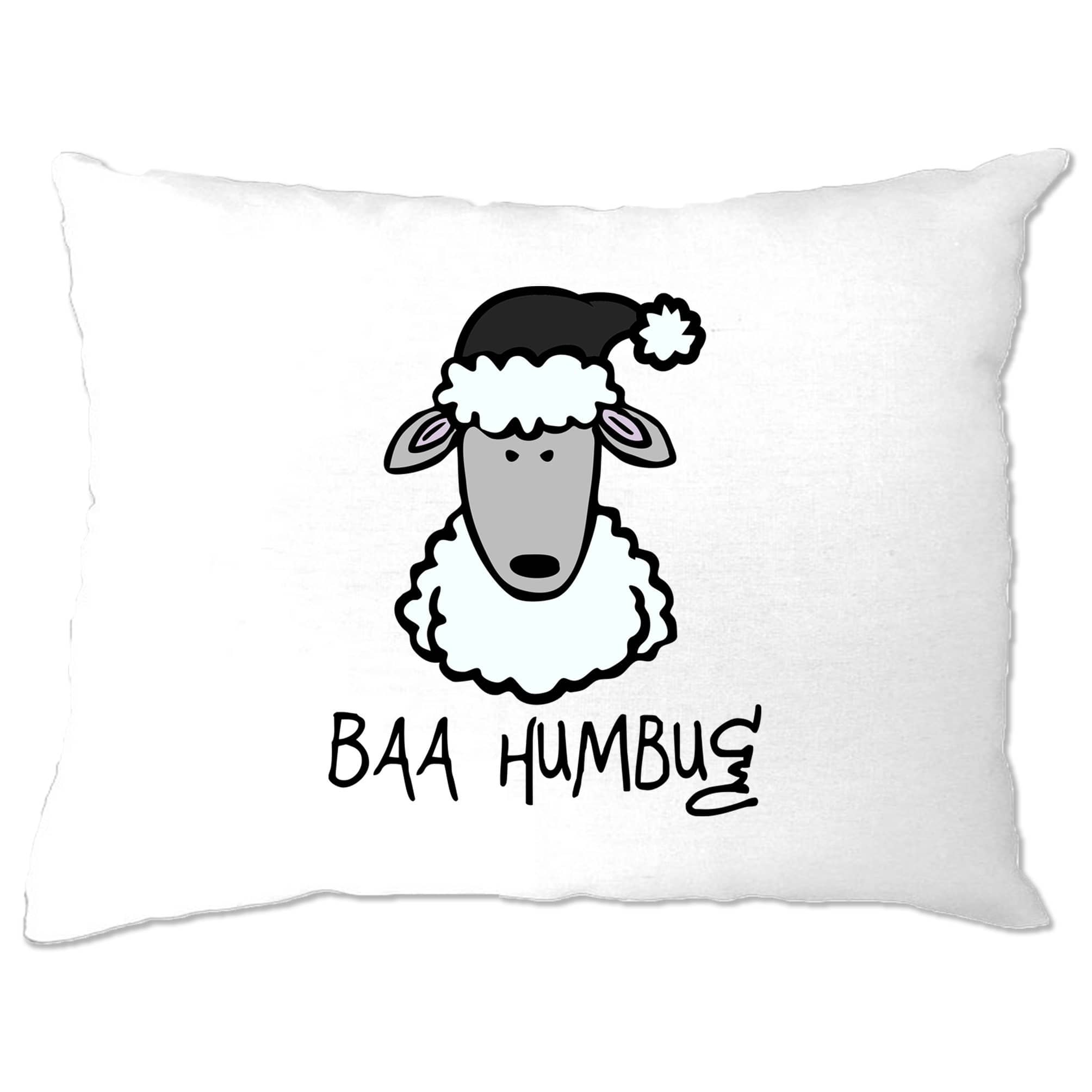 Joke Christmas Pillow Case Baa Humbug Sheep Pun