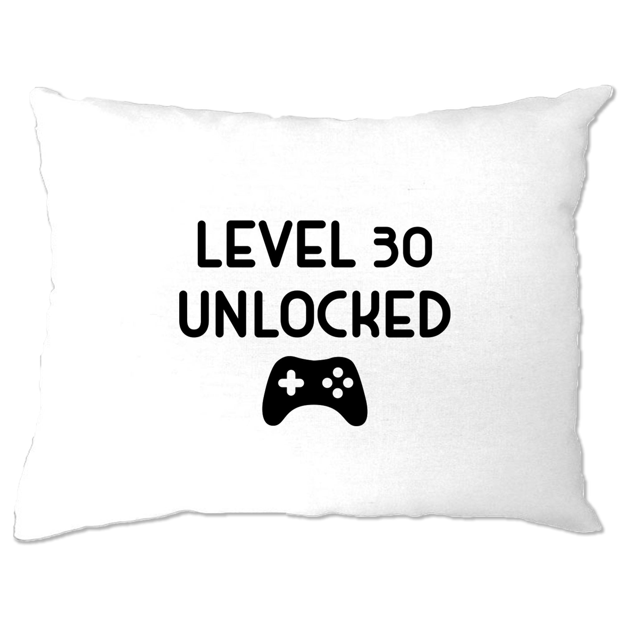 Gamers 30th Birthday Pillow Case Level 30 Unlocked Slogan