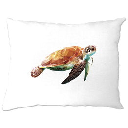 Sea Life Art Pillow Case Low Poly Turtle Graphic
