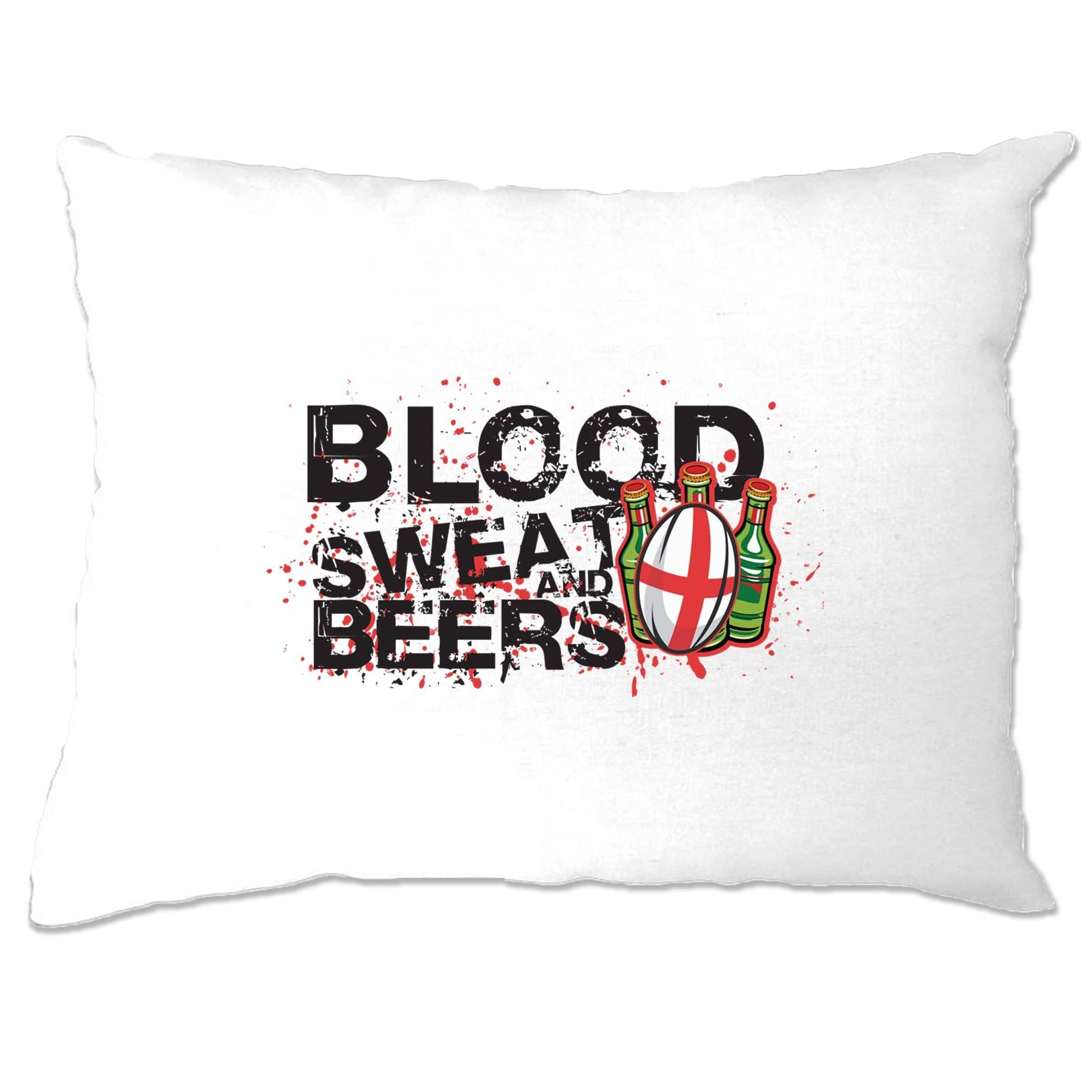 England Rugby Supporter Pillow Case Blood, Sweat And Beers