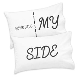 Couples Pack of 2 Pillowcases Your Side My Side His Hers Valentines