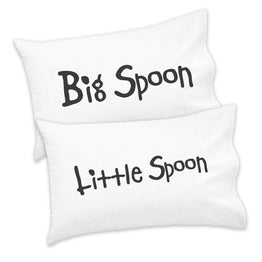 Couples Pack of 2 Pillowcases Big Little Spoon His Hers Valentines