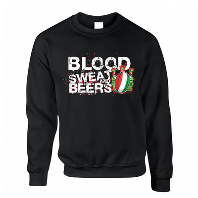 Italy Rugby Supporters Jumper Blood, Sweat And Beers Sweatshirt Sweater