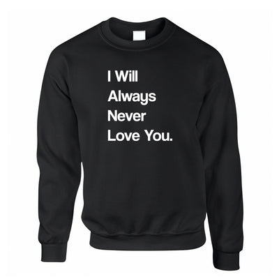 Novelty Jumper I Will Always Never Love You Sweatshirt Sweater