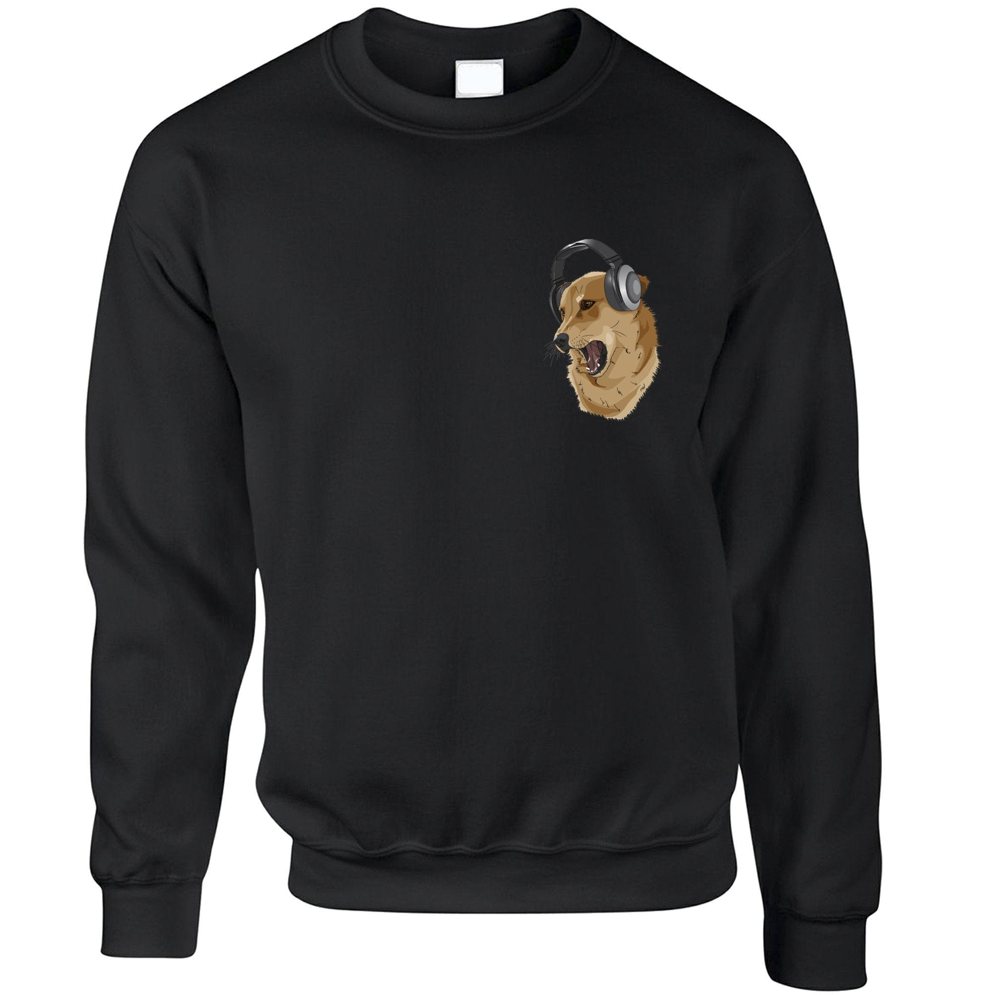 Music Jumper Shibe Wearing Headphones Pocket Print Sweatshirt Sweater