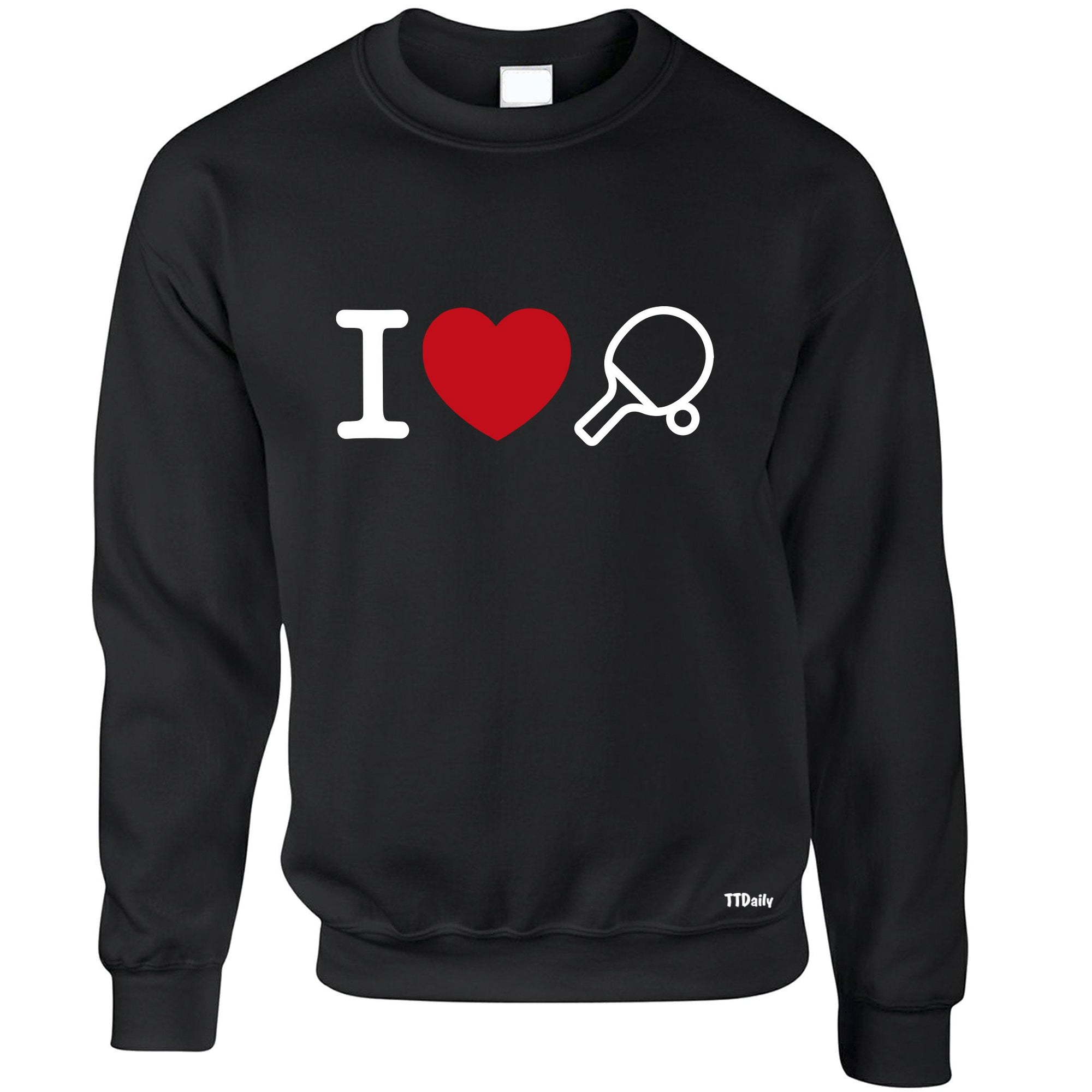 I Love Table Tennis Jumper Ping Pong Player Heart Design Sweatshirt