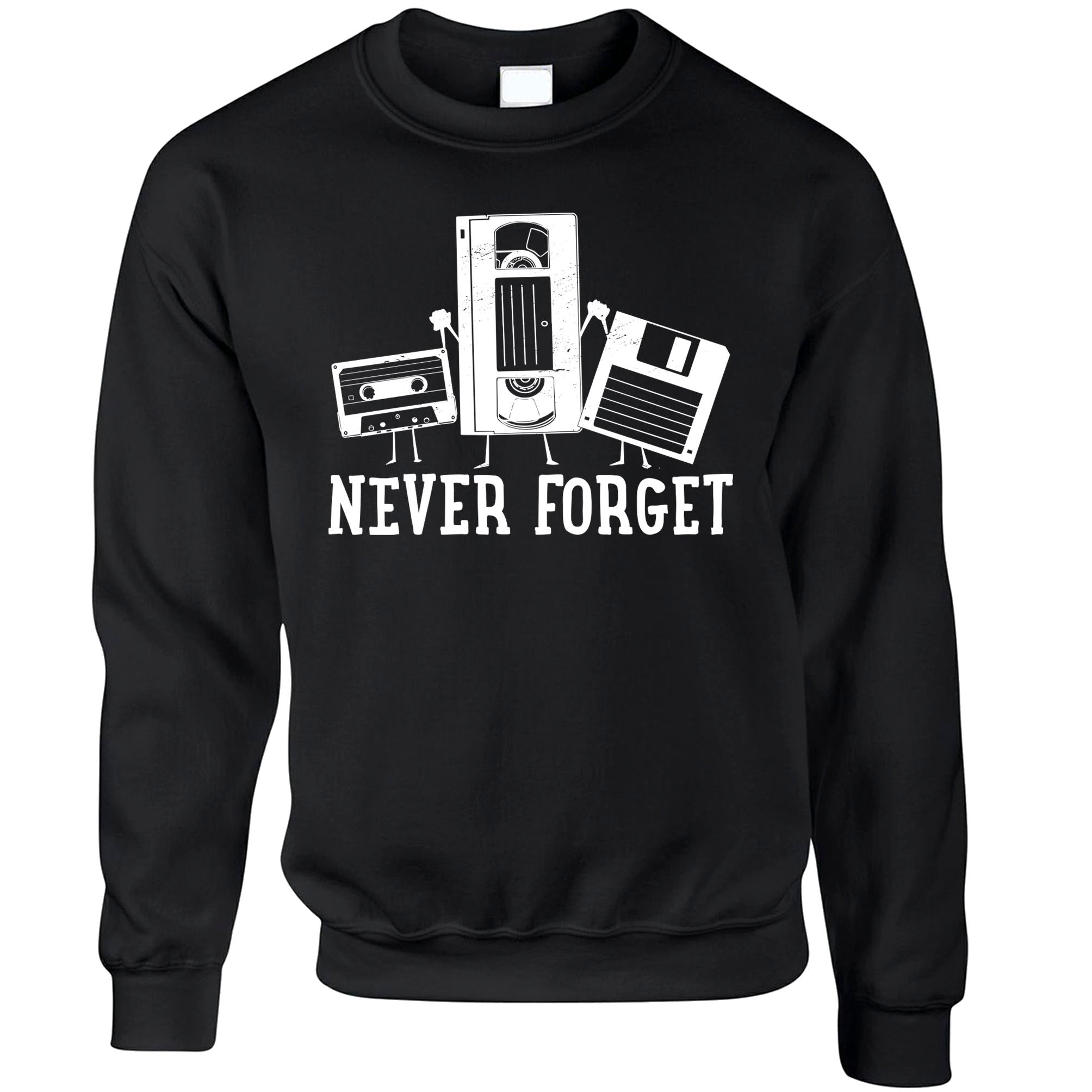 Retro Jumper Never Forget VHS and Floppy Discs Sweatshirt Sweater