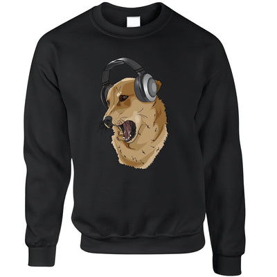 Cute Music Jumper Shibe Dog Wearing Headphones Sweatshirt Sweater