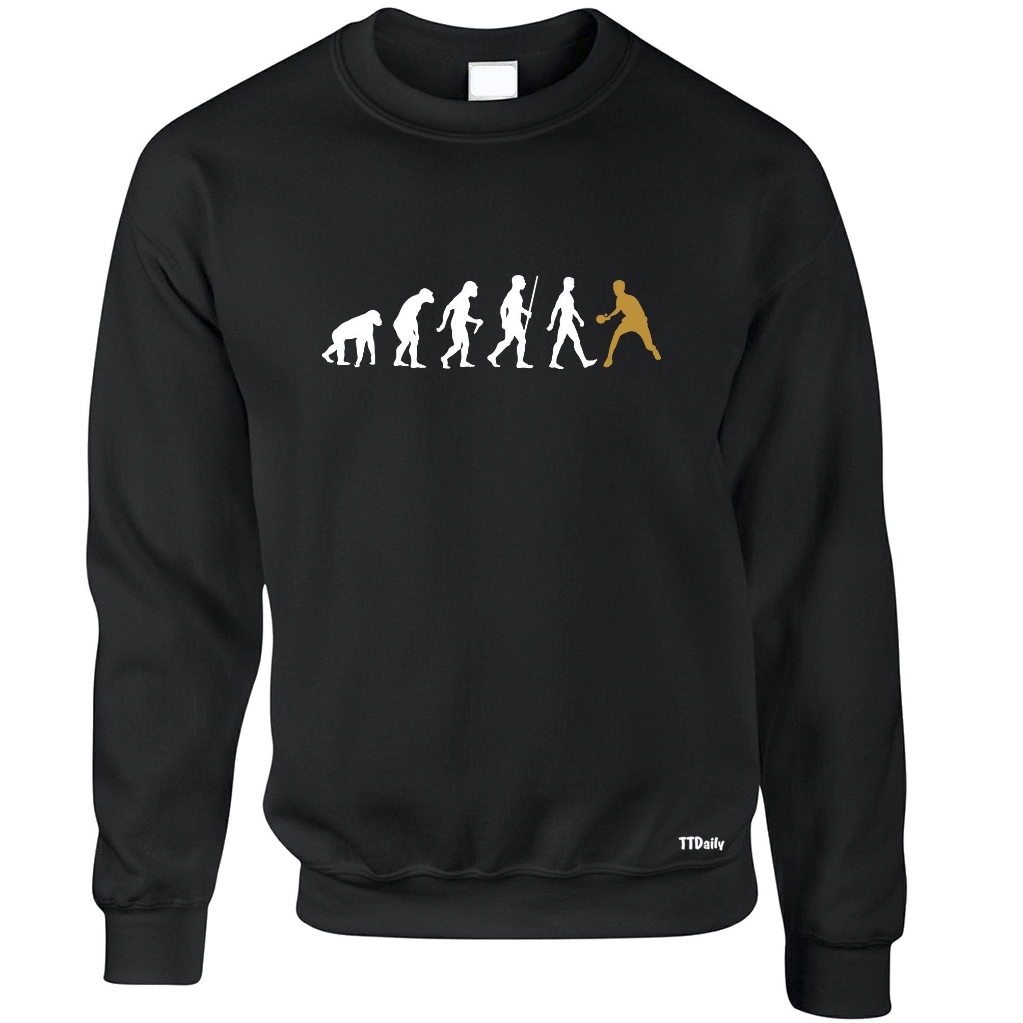 Table Tennis Jumper The Evolution Of Man Gold Sweatshirt Sweater